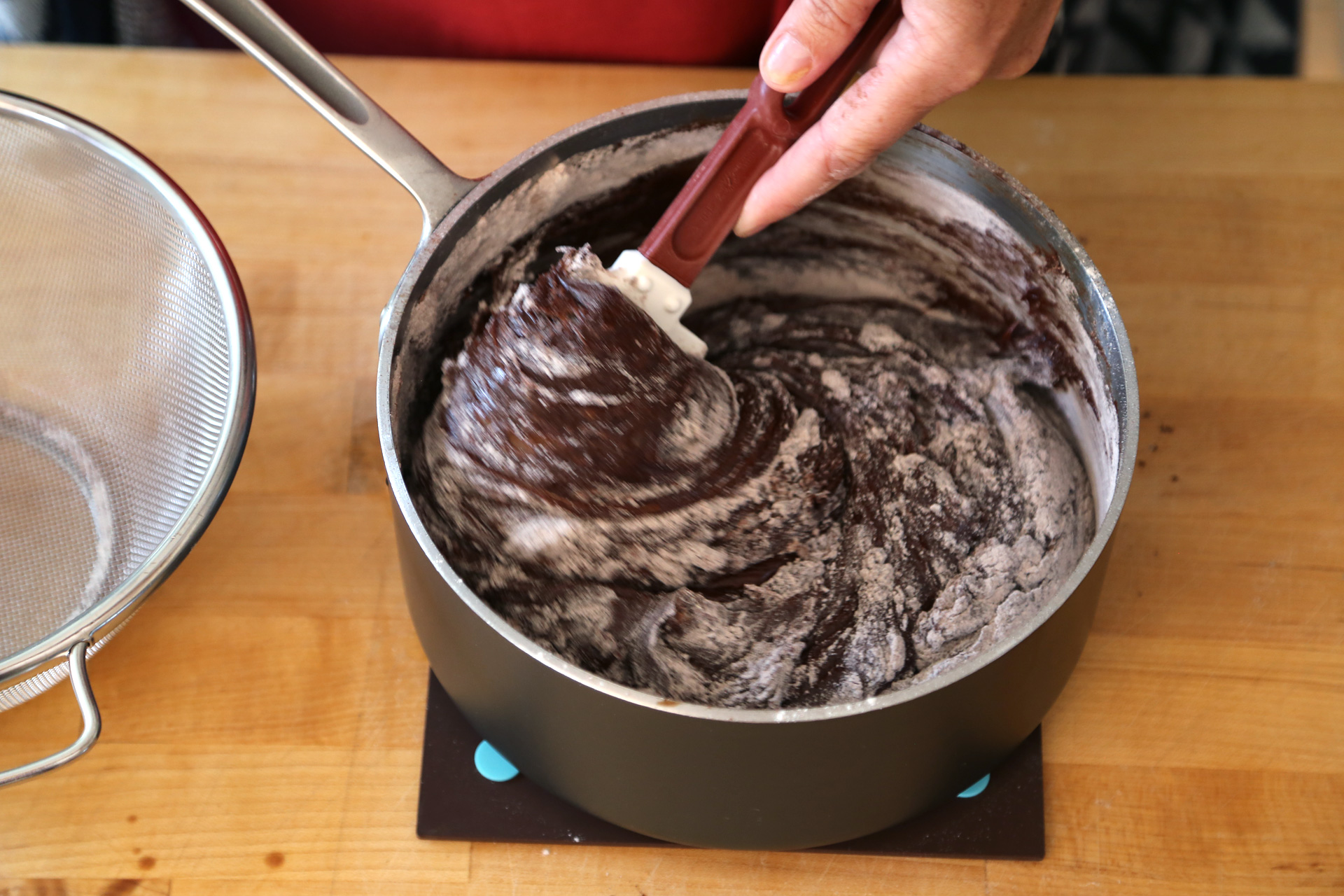 Using a rubber spatula, stir in the flour and cocoa until blended.