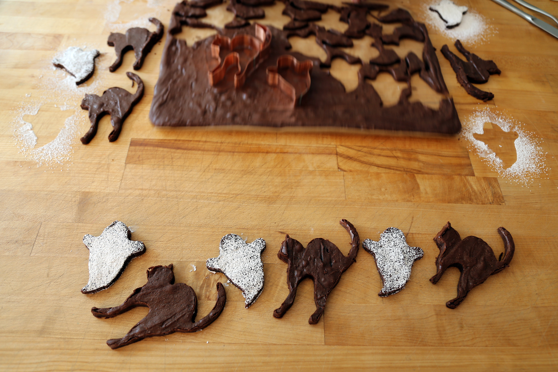 Chewy Chocolate Cut-Out Brownie Cookies - Scaredy Cats and Sugar-Dusted Ghosts