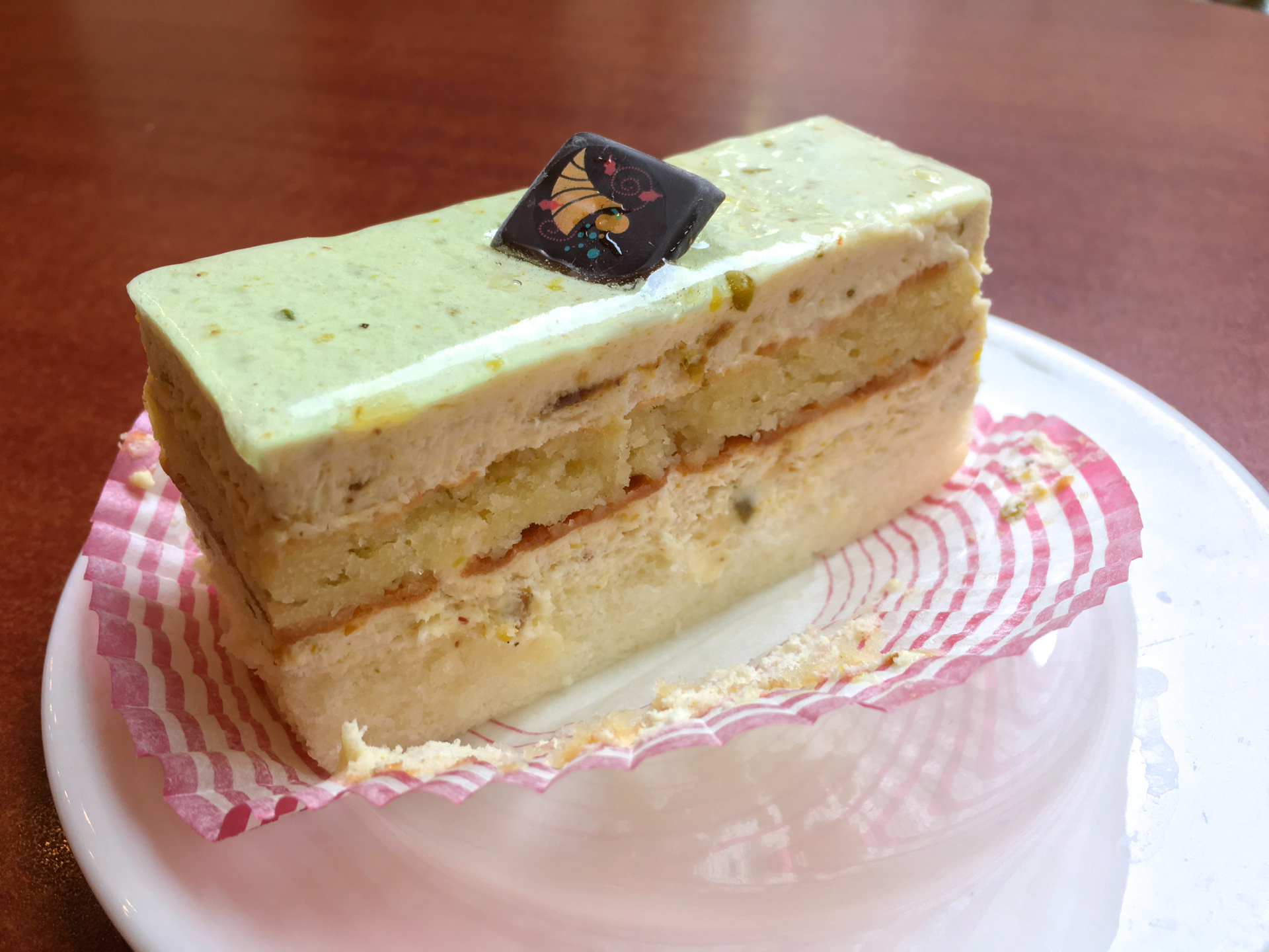 A Pistachio mousse pastry at Bijan Bakery & Cafe.