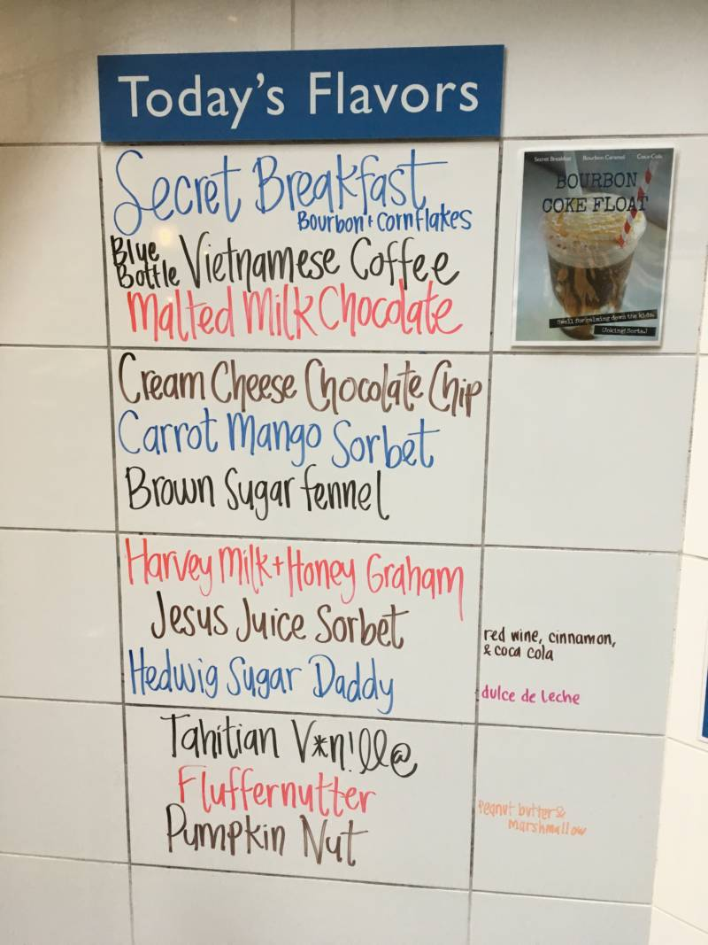Daily flavors at Humphry Slocombe in the Ferry Building