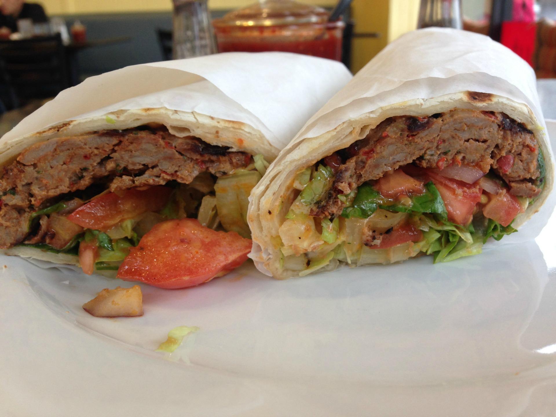 A spicy Adana Kebab from Rojbas Grill.