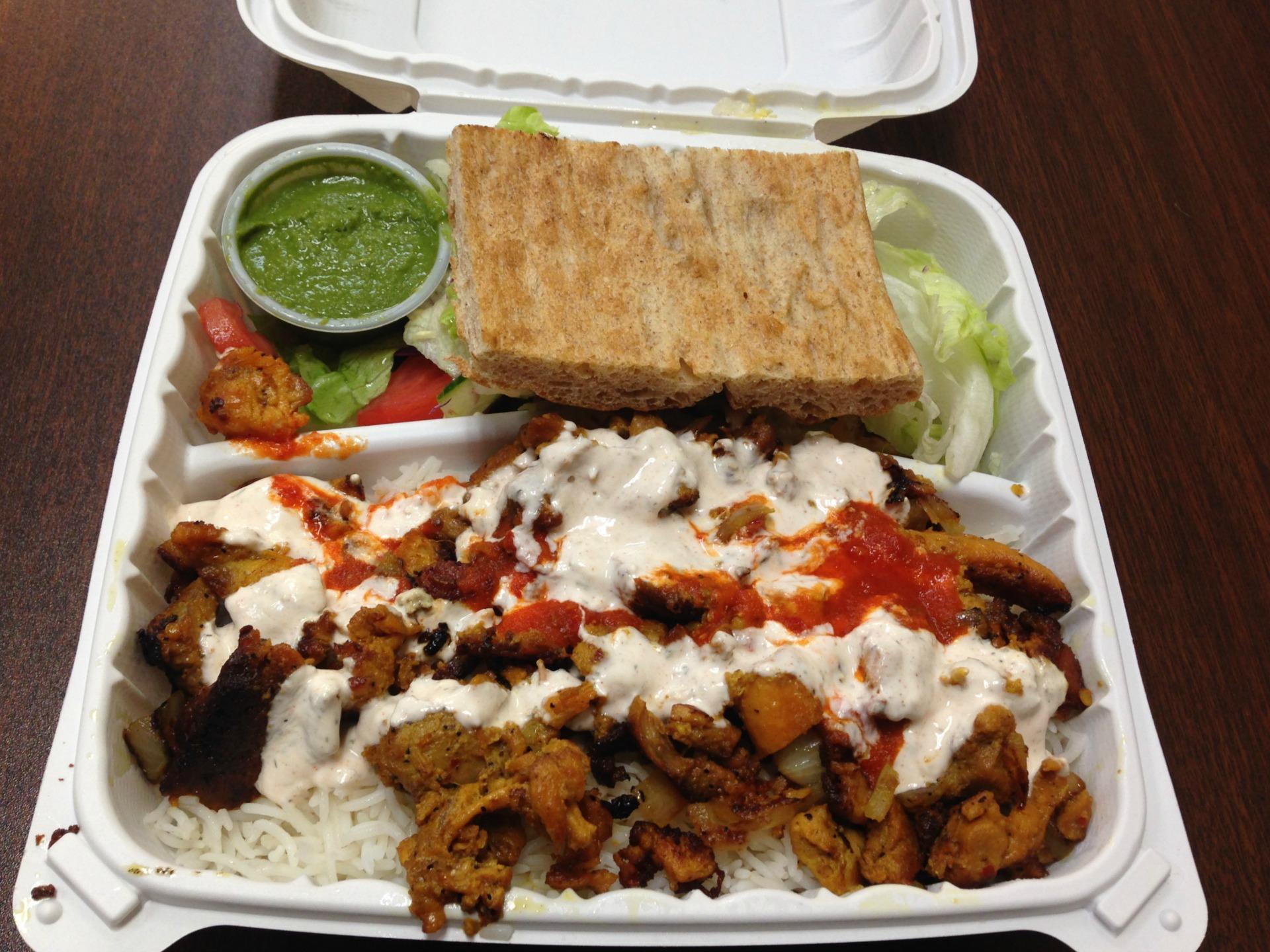 Chicken and rice at Kebab Express.