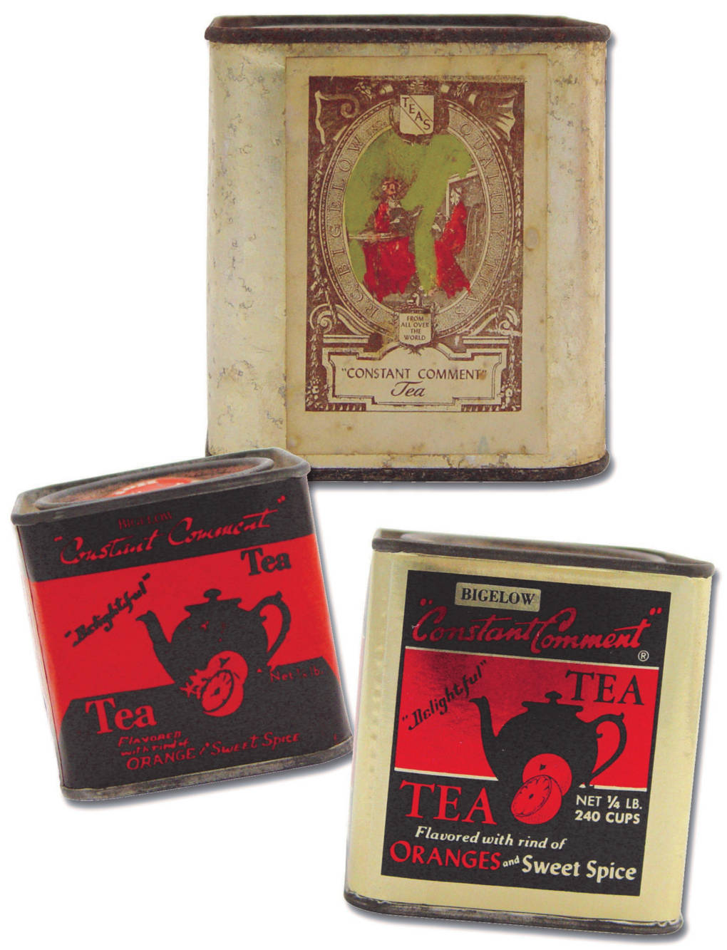 Constant Comment was first sold in tins wrapped in gold foil. The family could only afford single color labels for the first tea tins. So David Sr. and his son, David Jr., would hand-paint the red ladies on the labels.