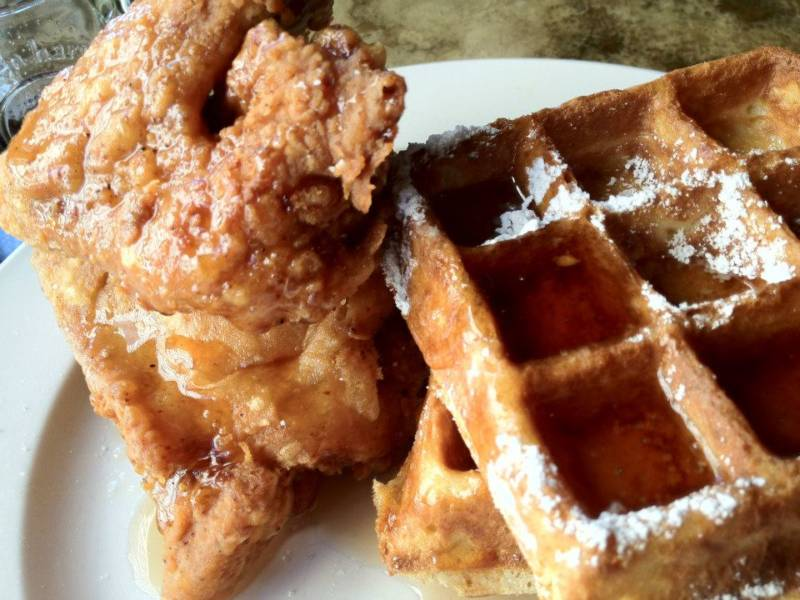 Chicken and waffles at Farmer Brown.