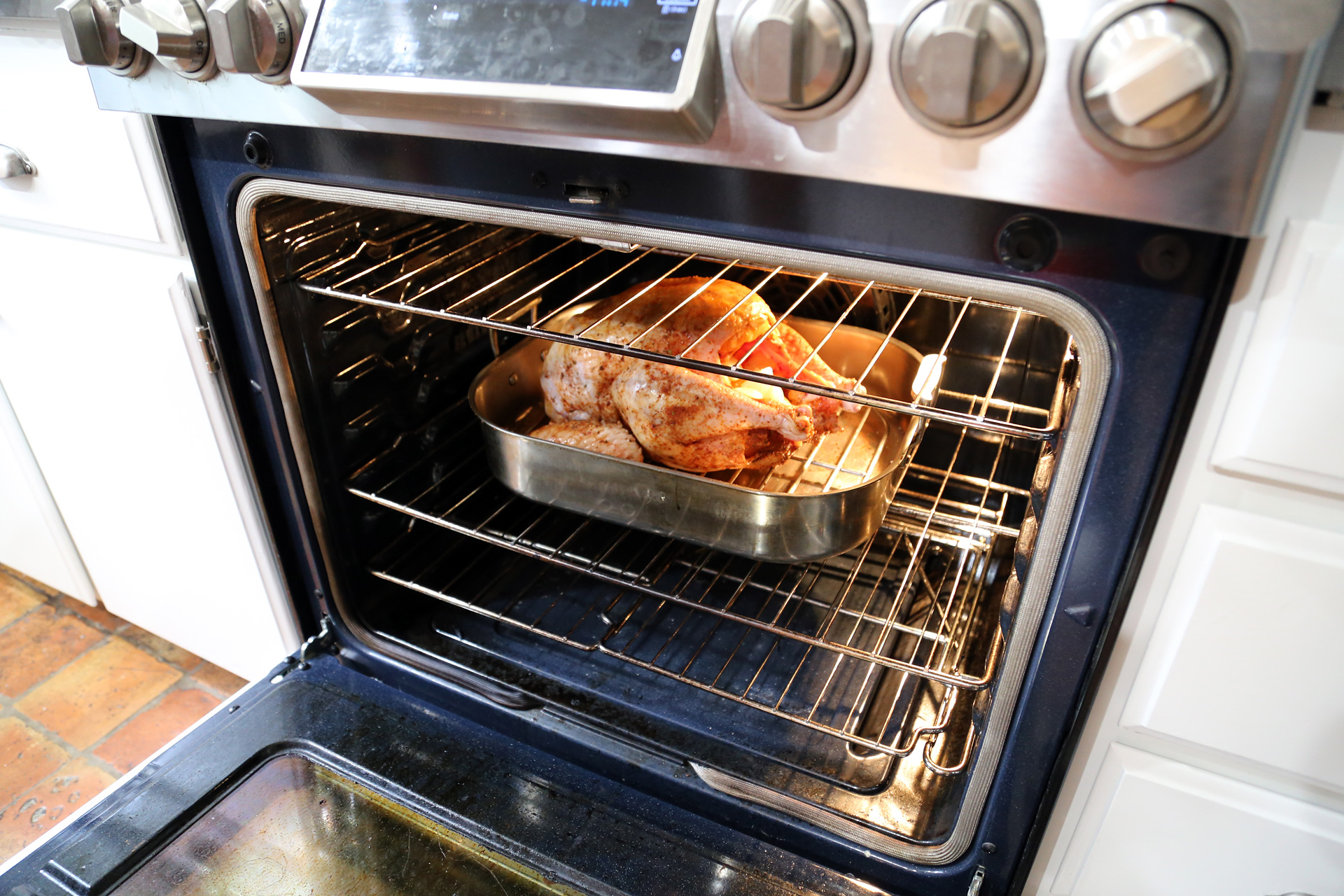 Roast the turkey in the oven per instructions.