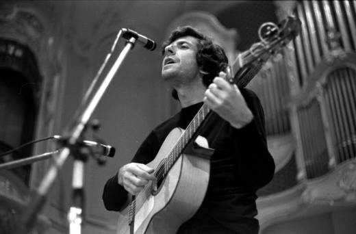 Leonard Cohen performs on stage at the Musikhalle in 1970 in Hamburg, Germany.