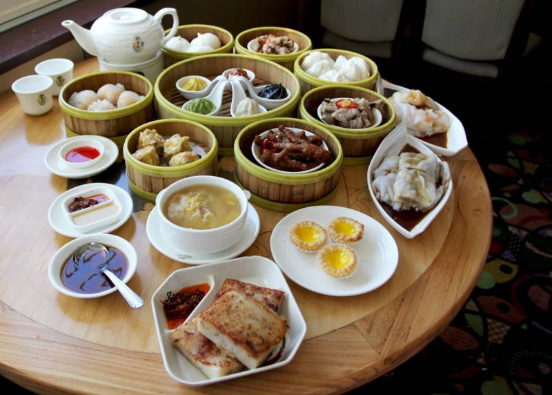 Dim sum plates and tea at Koi Palace.