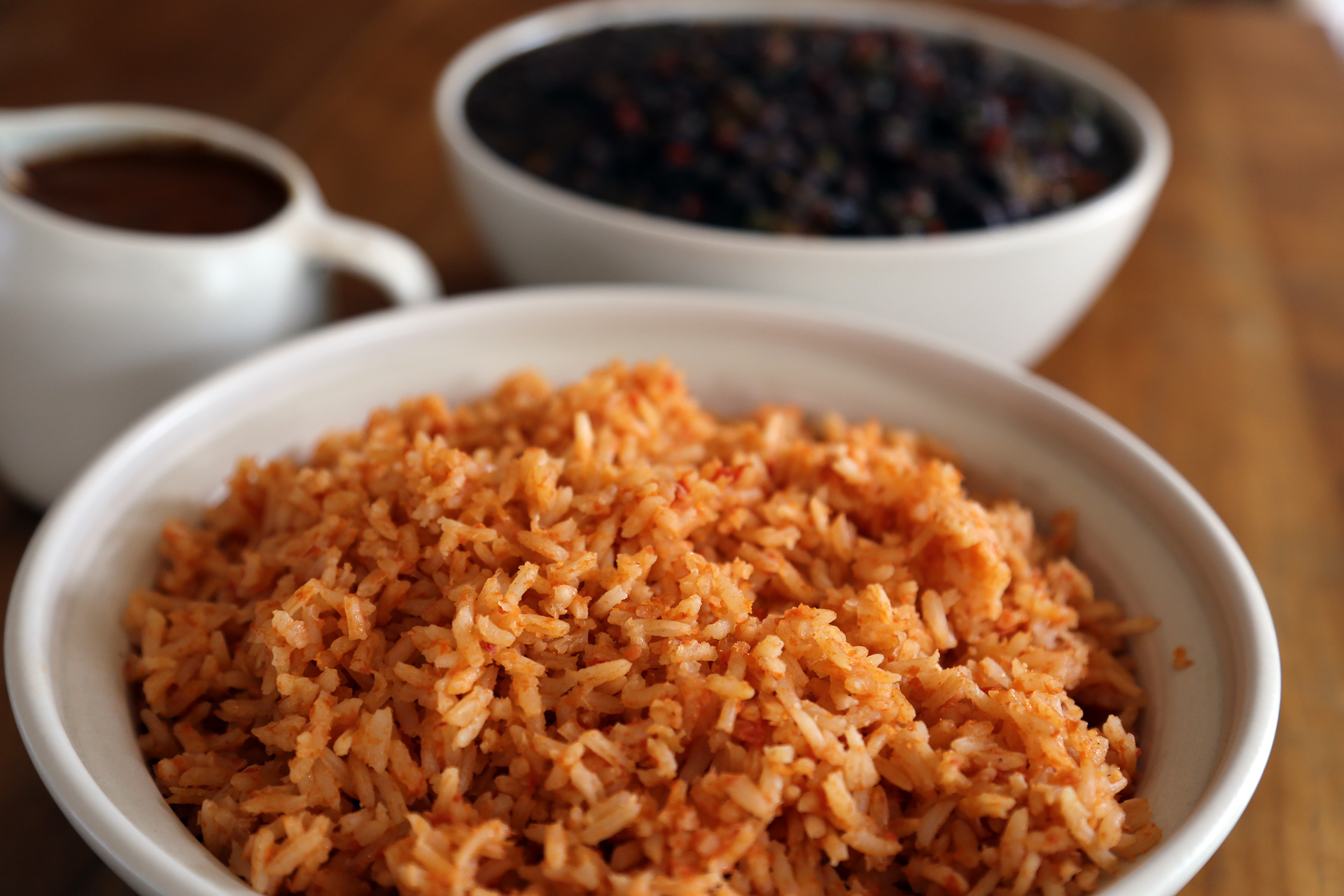 Fluff the rice with a fork, then serve with Savory Black Beans and Mole Gravy.