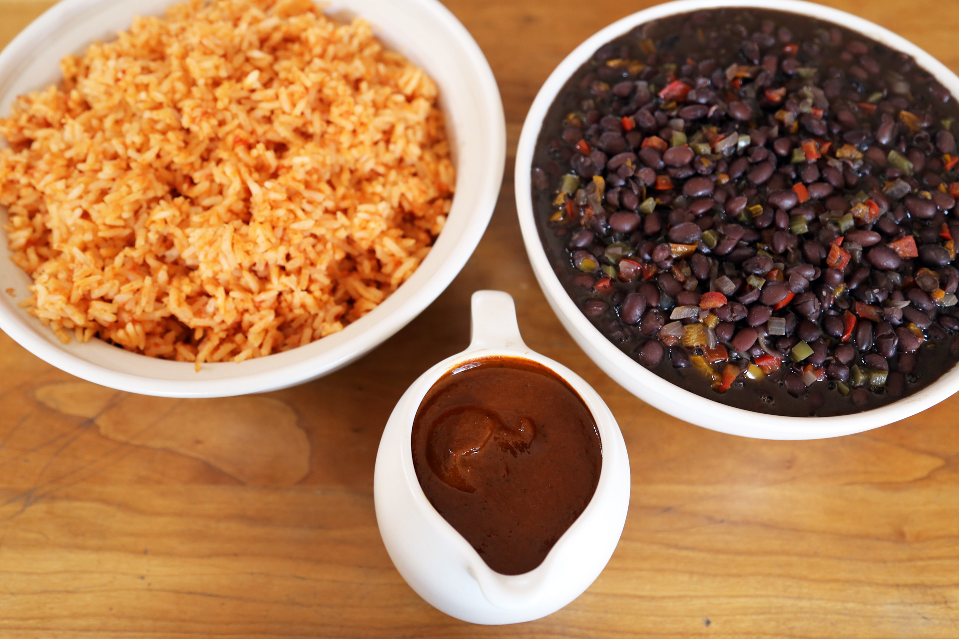 Spicy Mole Gravy with Mexican Rice and Savory Black Beans