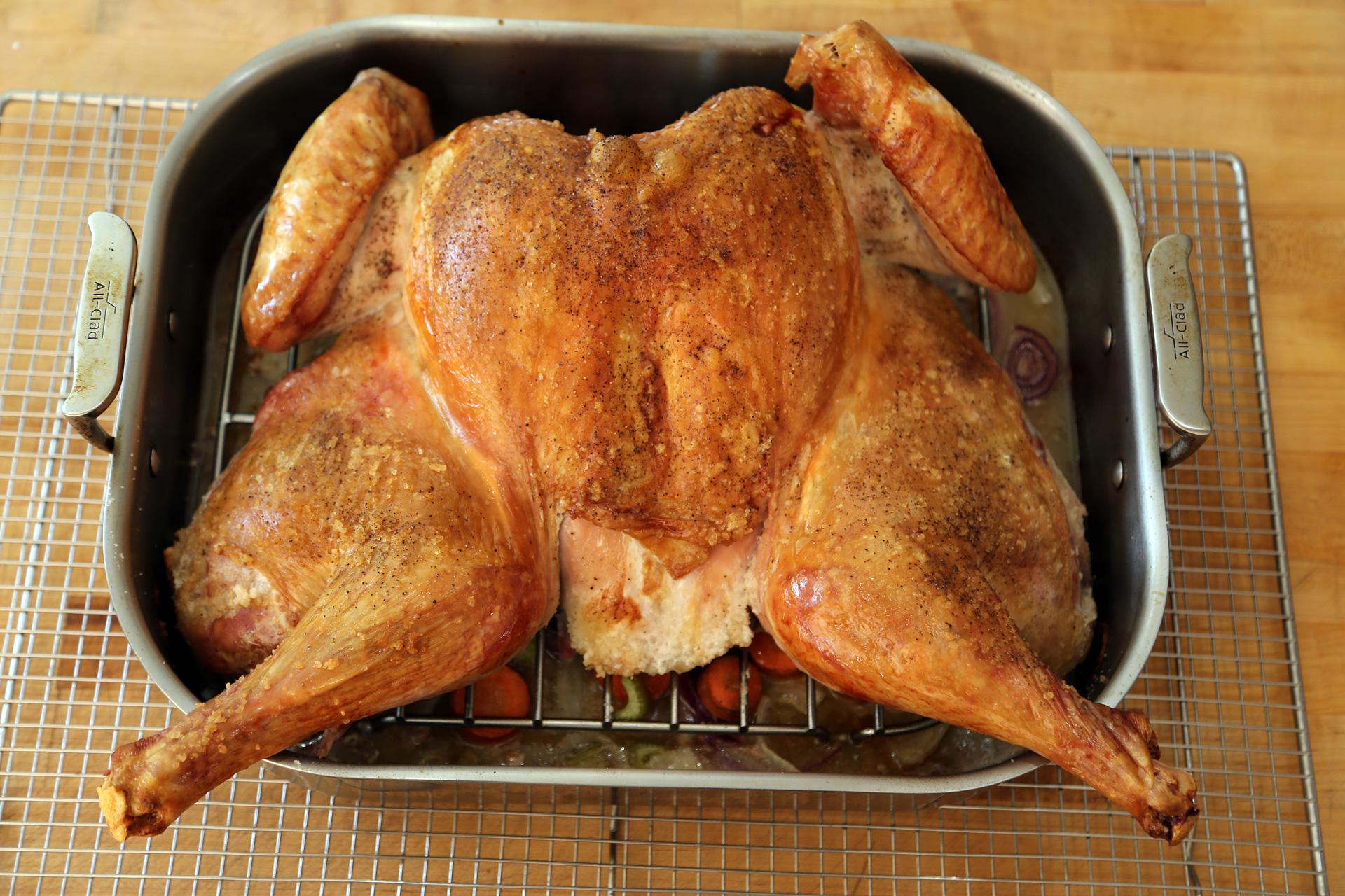 Spatchcocked Roast Turkey in roasting pan