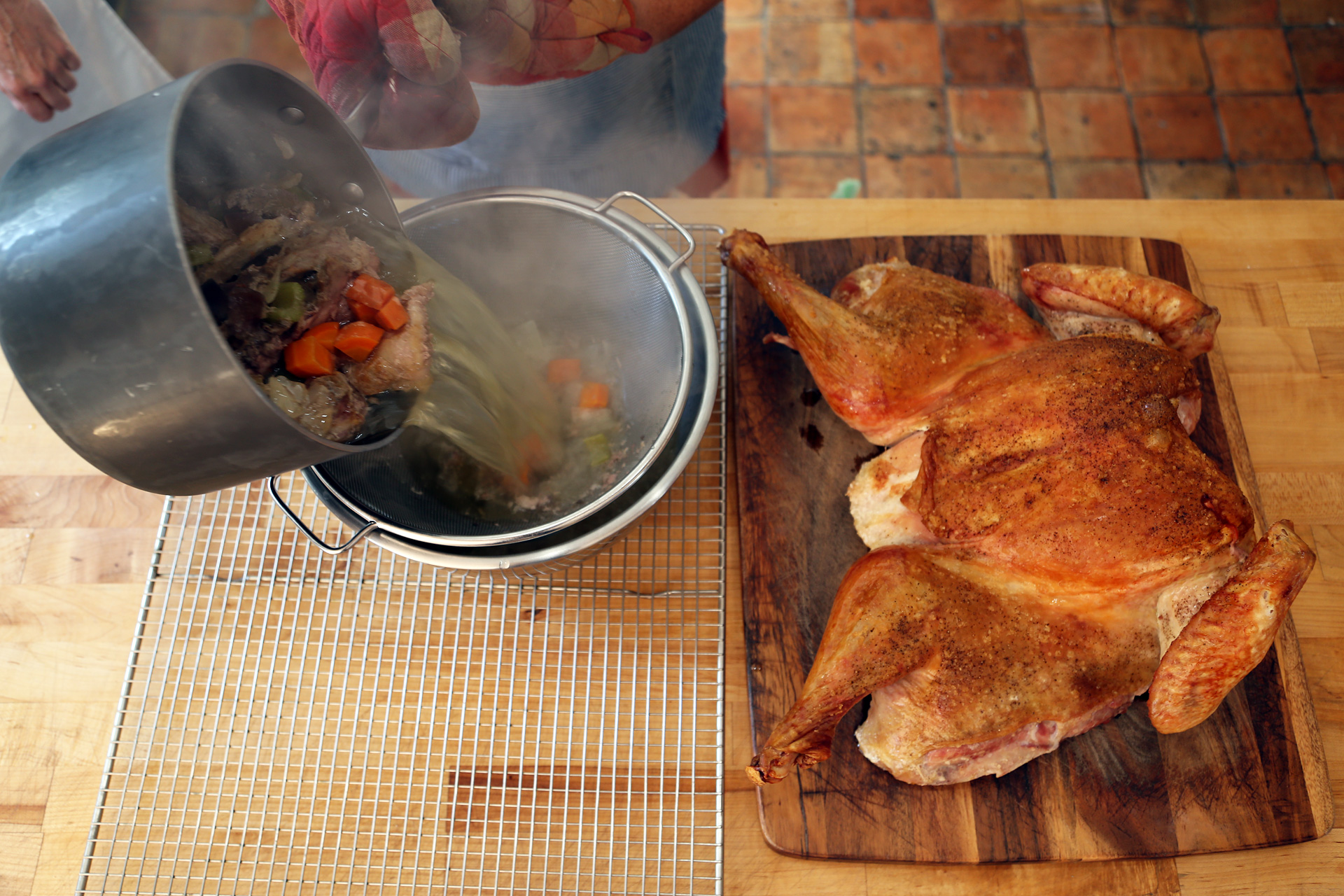 Pour off the drippings, remove the fat, and add to your turkey gravy!