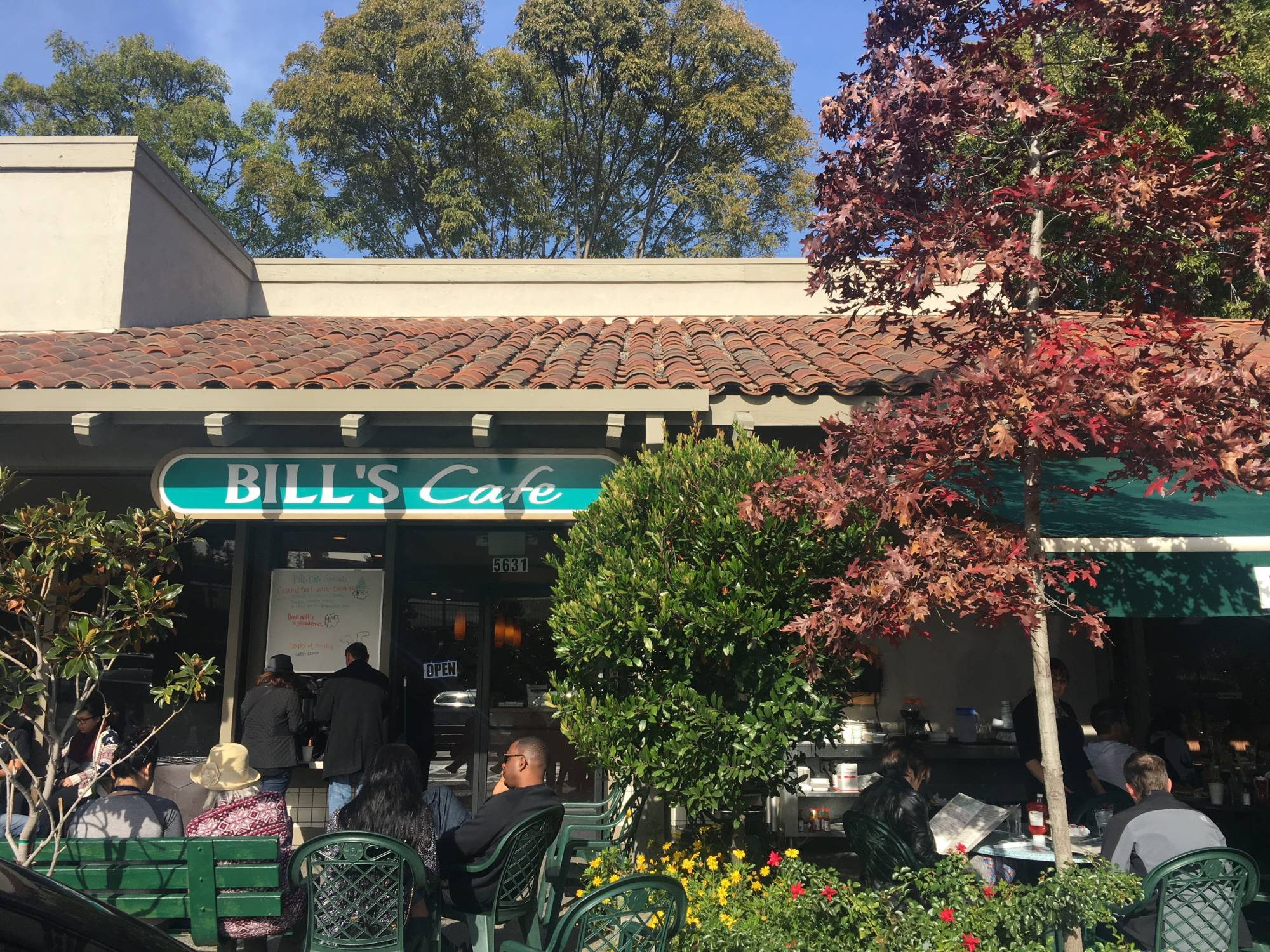 Outside Bill's Cafe in San Jose.