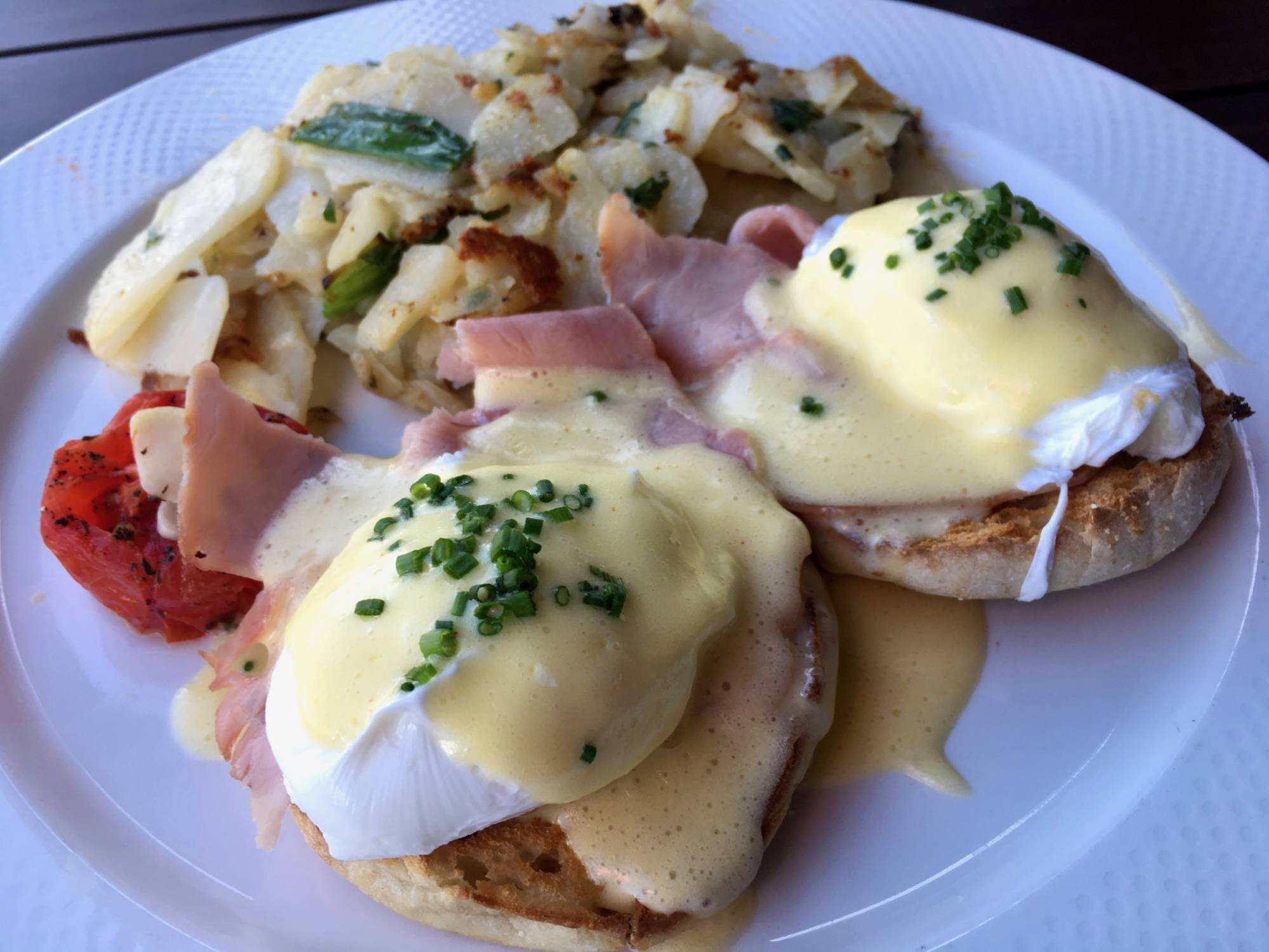 The country Eggs Benedict at Town in San Carlos.