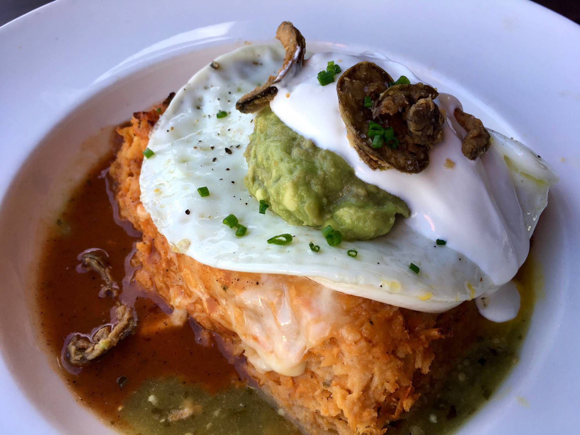 The Chicken Chilaquiles at Town in San Carlos.
