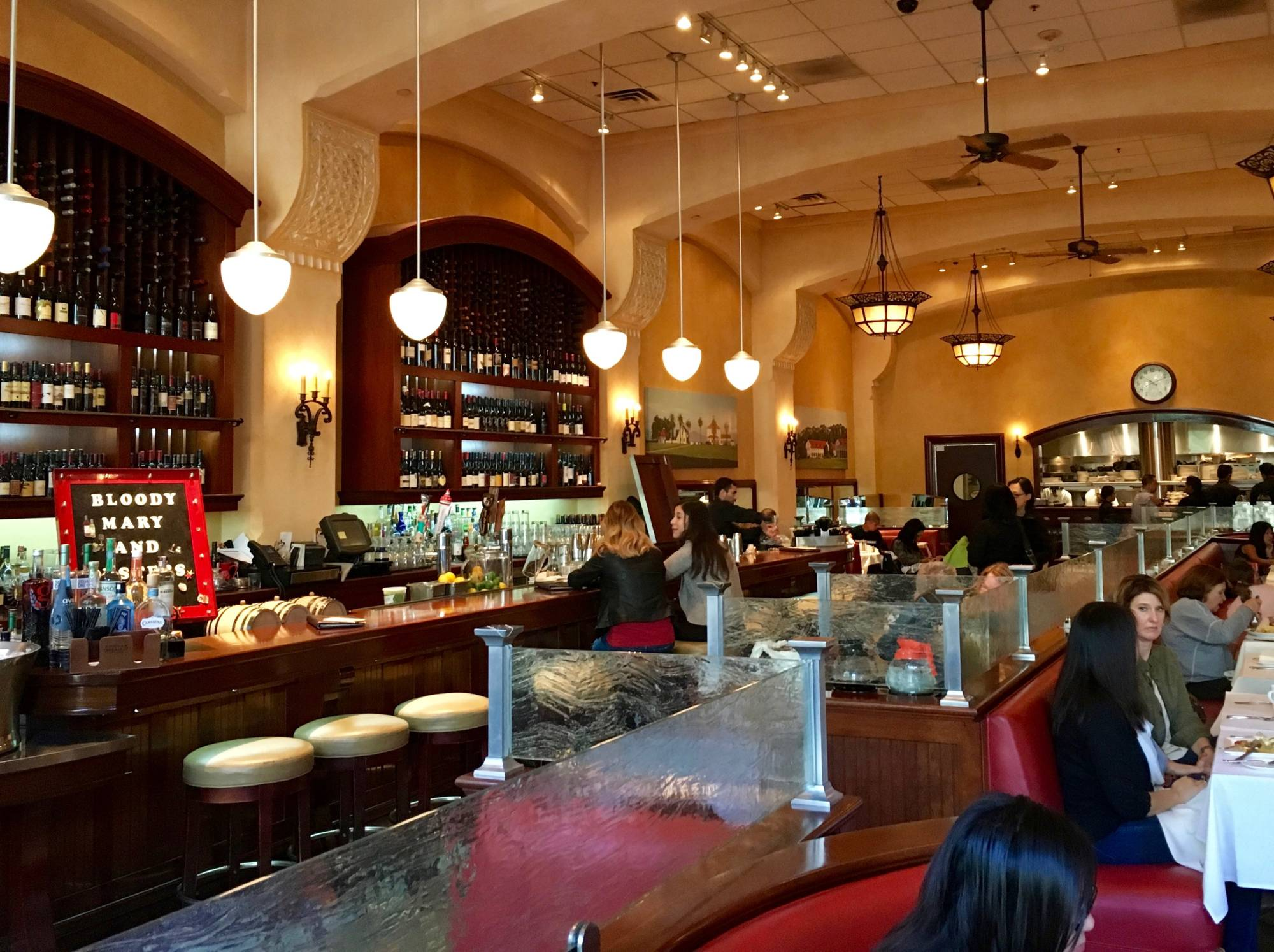 The wine bar and dining room of Village California Bistro and Wine Bar.