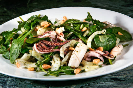 A squid salad in Los Angeles. In California, squid is an economic driver of the seafood industry. Bit most of this squid is frozen and exported overseas to China to be processed and distributed across the globe.