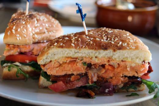 The Saha wild salmon burger.