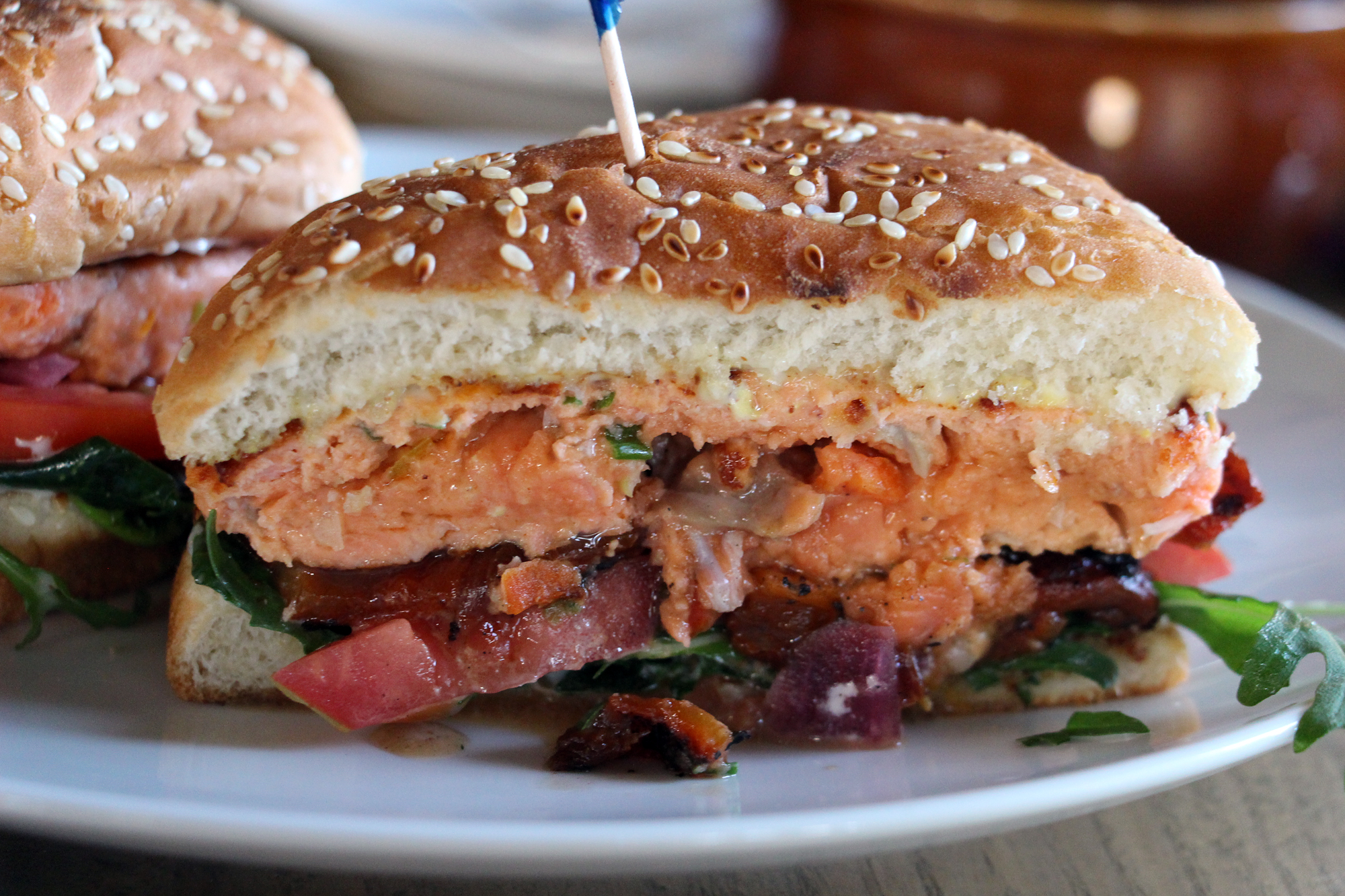 The Saha wild salmon burger.