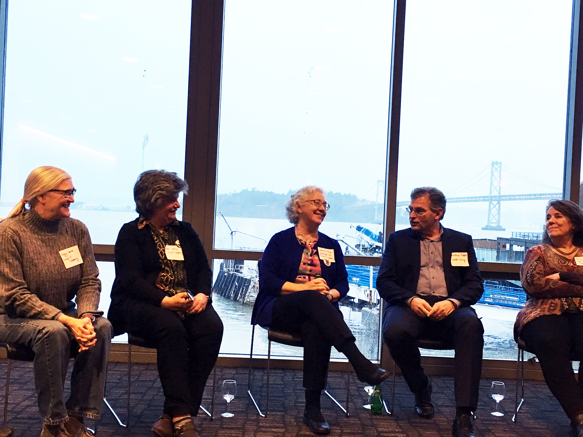 From left: Peggy Smith (Cowgirl Creamery), Sue Conley (Cowgirl Creamery), Jennifer Bice (Redwood Hill), Matthias Kunz (Emmi), and Mary Keehn (Cypress Grove) in the Port Room of the San Francisco Ferry Building.