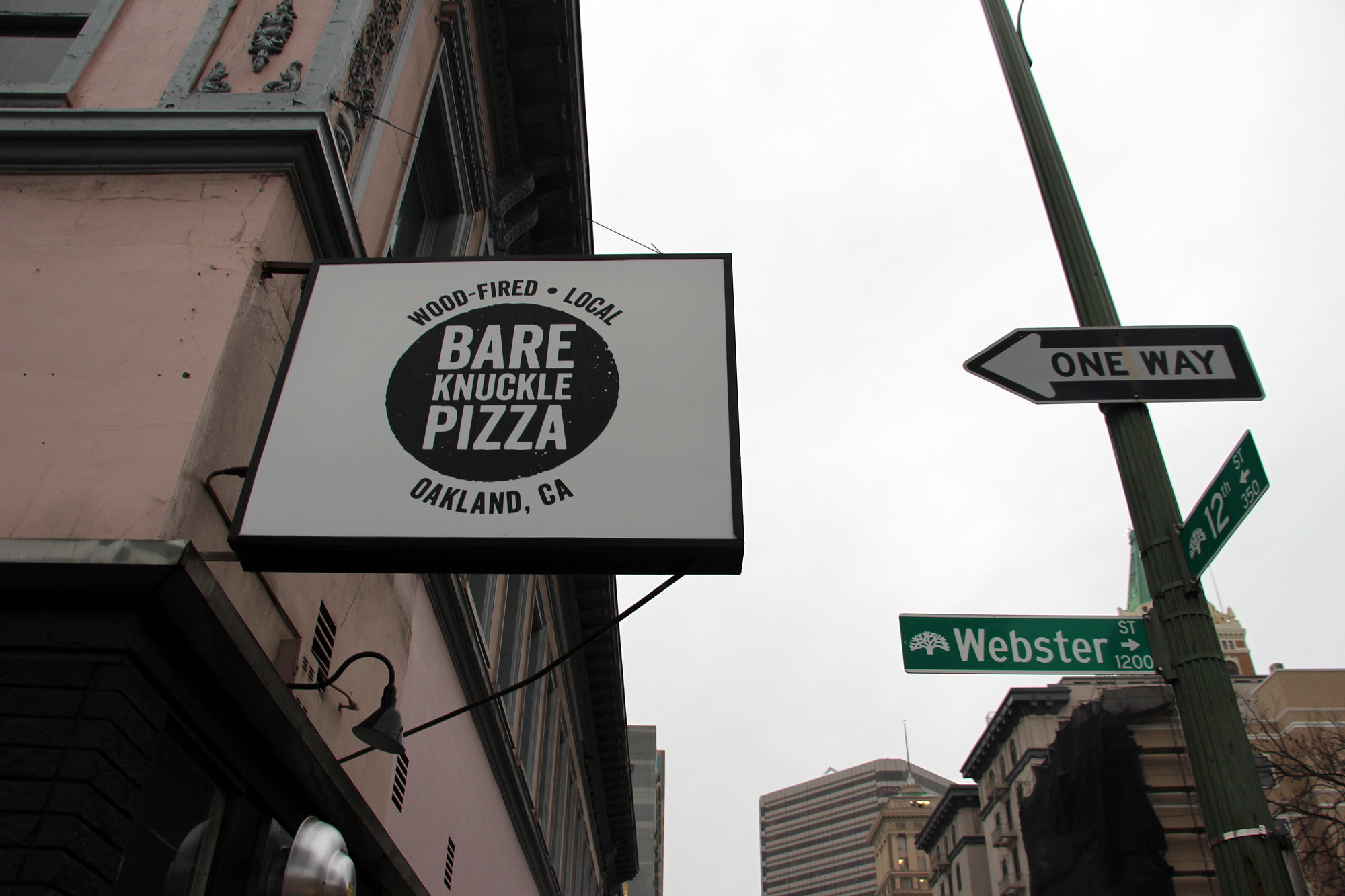Bare Knuckle Pizza signage.