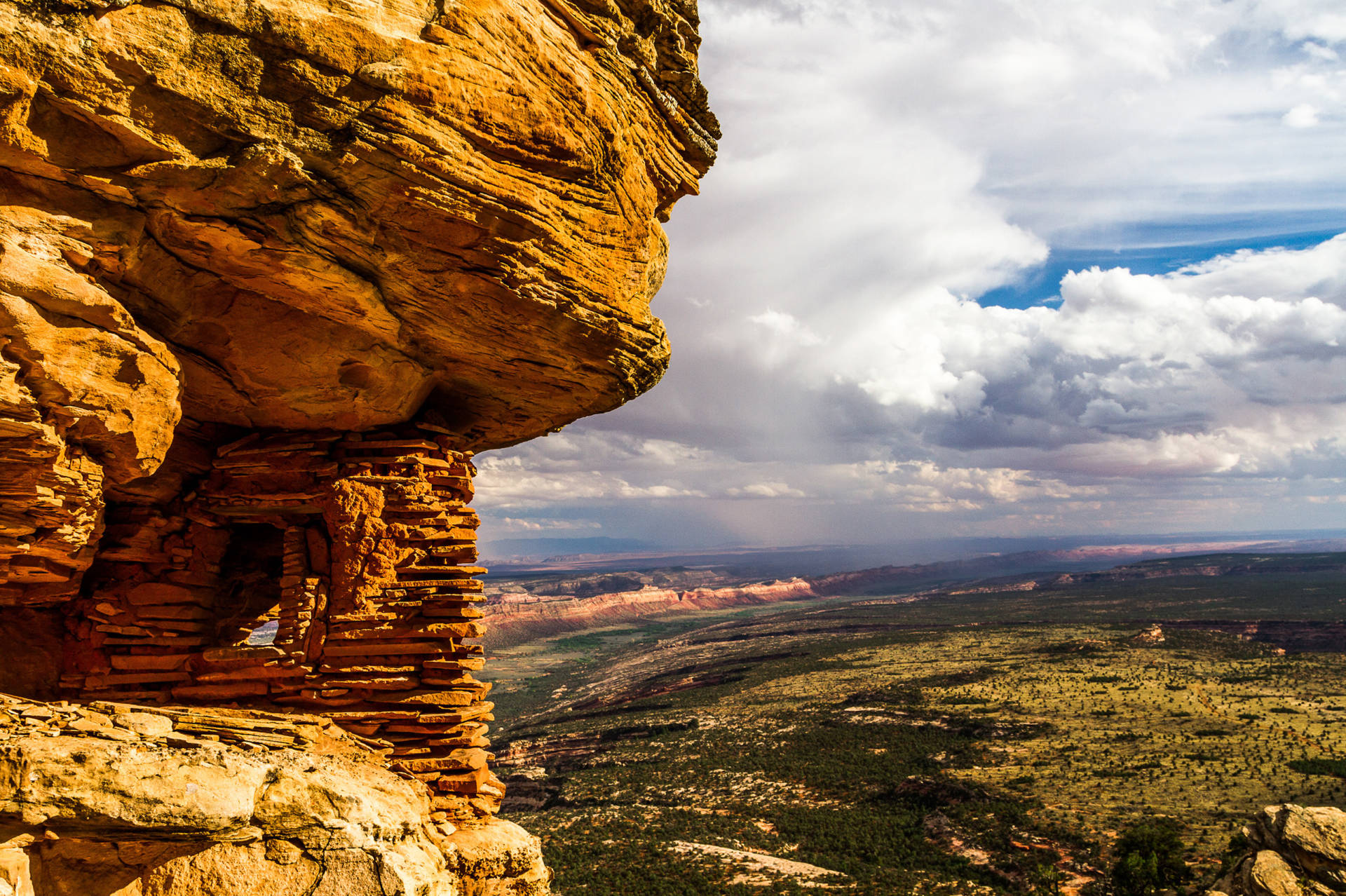 A prehistoric granary overlooking Cedar Mesa, a site inside the newly created Bears Ears National Monument in Utah that is sacred to many Native American tribes. Natives still hunt and forage for food and medicine throughout the Bears Ears region. Josh Ewing/Courtesy of Bears Ears Inter-Tribal Coalition