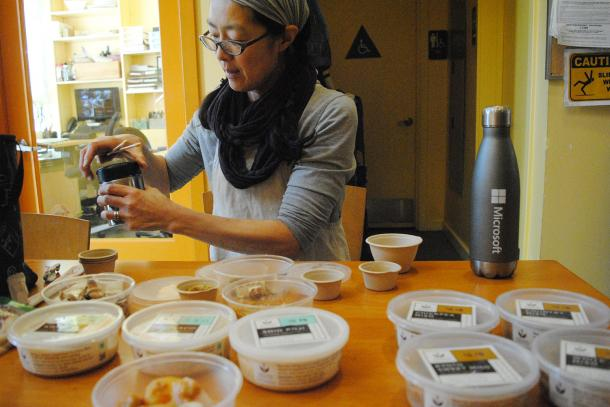 Mariko Grady prepares samples of her products at La Cocina's incubator kitchen.