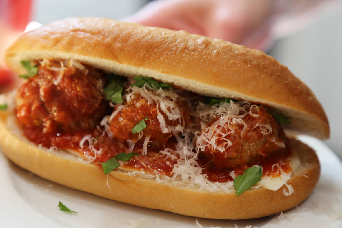 Get Your Super Bowl On: Homemade Meatball Sandwiches with Provolone