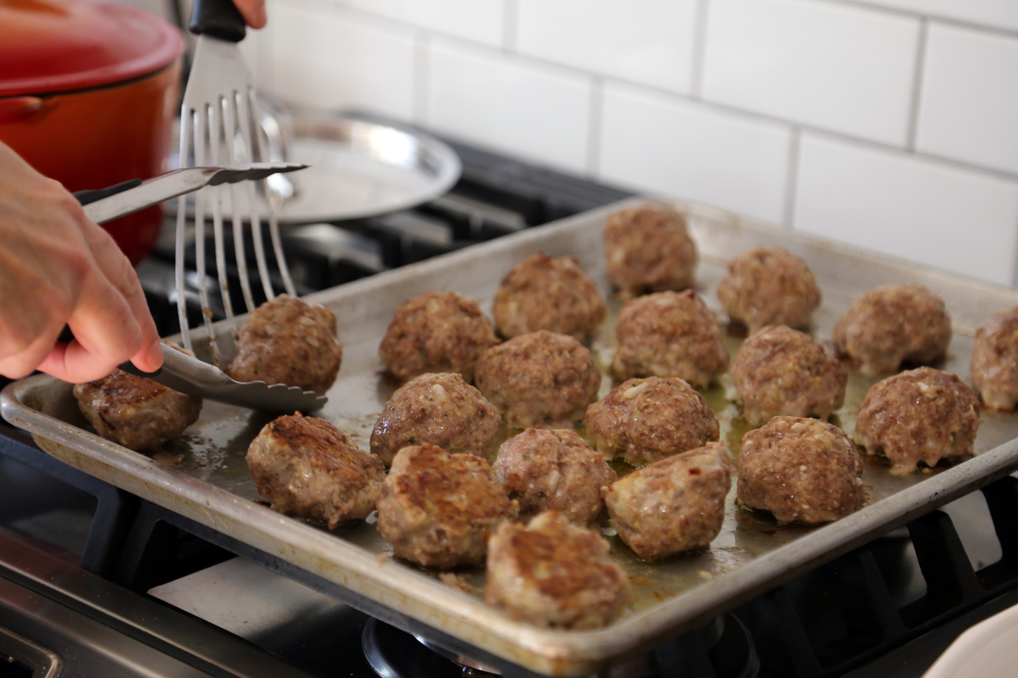Roast the meatballs in the oven for about 20 minutes, until browned (you can turn once if you like).
