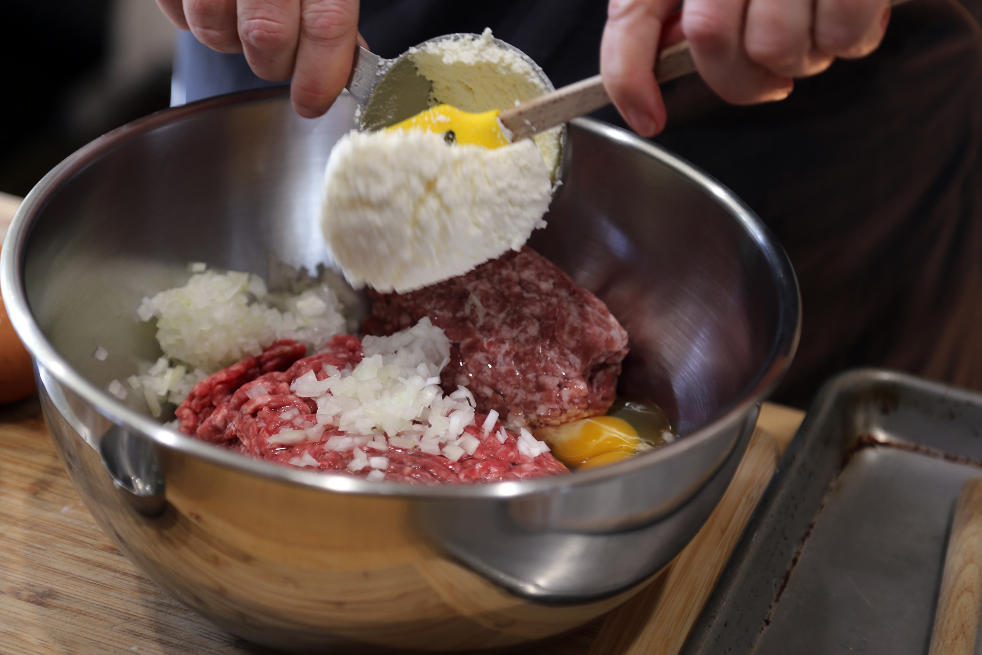 Adding ricotta cheese to the meatball mixture adds moisture and richness.