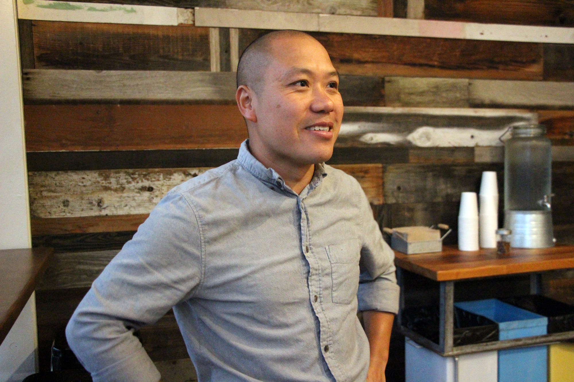 Owner Viet Nguyen at Bare Knuckle Pizza's grand opening.