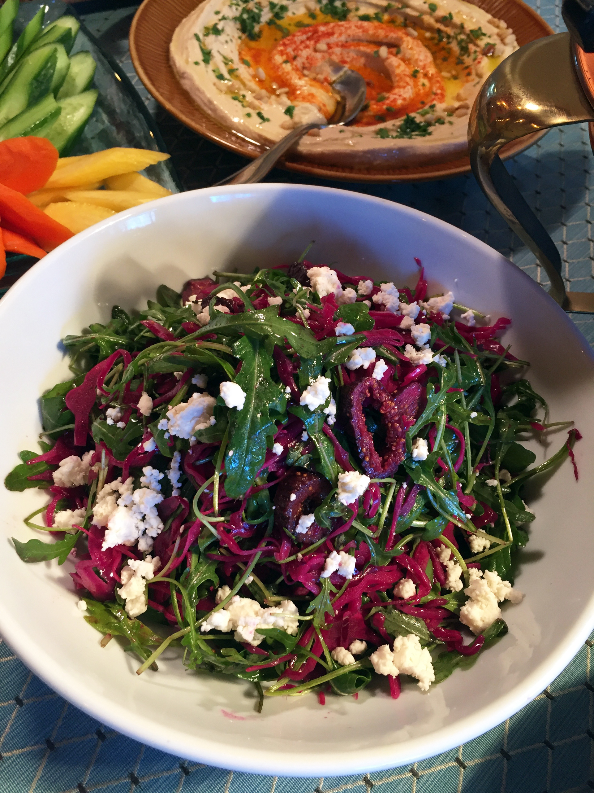 One of Ba-Bite's colorful salads: red cabbage with mung bean sprouts, dried figs, arugula and feta and the creamiest hummus.