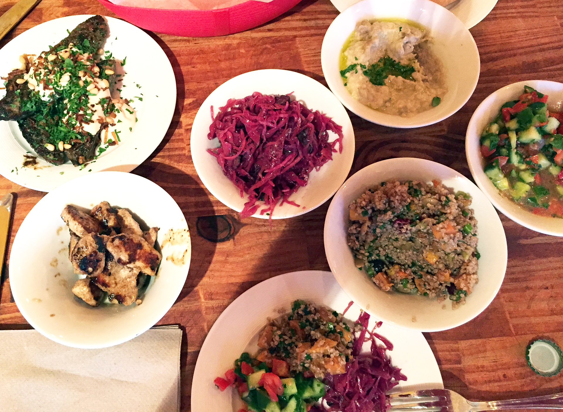 A generous spread at Ba-Bite, including butternut squash and quinoa salad with cranberries and pumpkin seeds; Salad Shirazi (cucumbers, tomatoes, parsley and mint), Red Cabbage salad, Baba Ganoush, Lamb Kefta and  Chicken Shishlik.