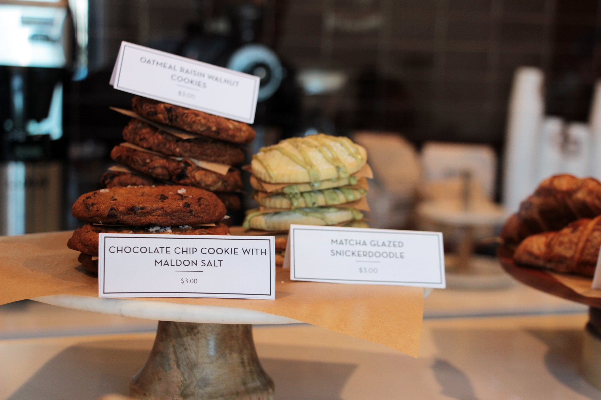 Housemade cookies include matcha-glazed snickerdoodles.