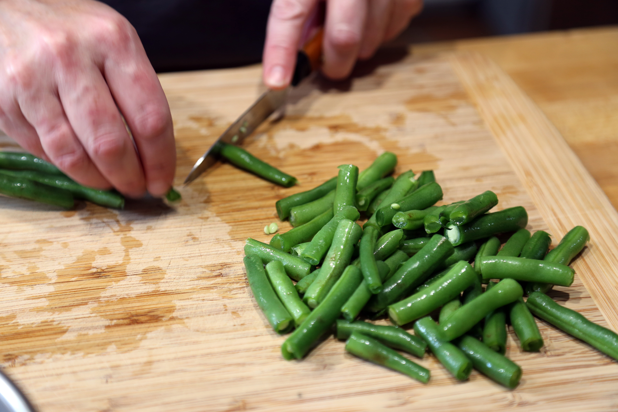 Trim and cut green beans into 1-inch lengths.