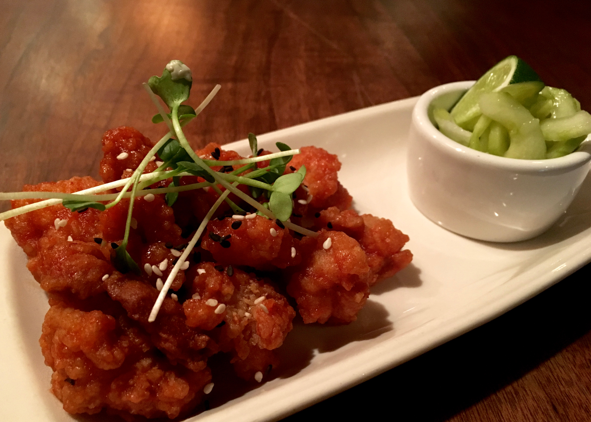 The Korean fried chicken at Cin-Cin Wine Bar & Restaurant.