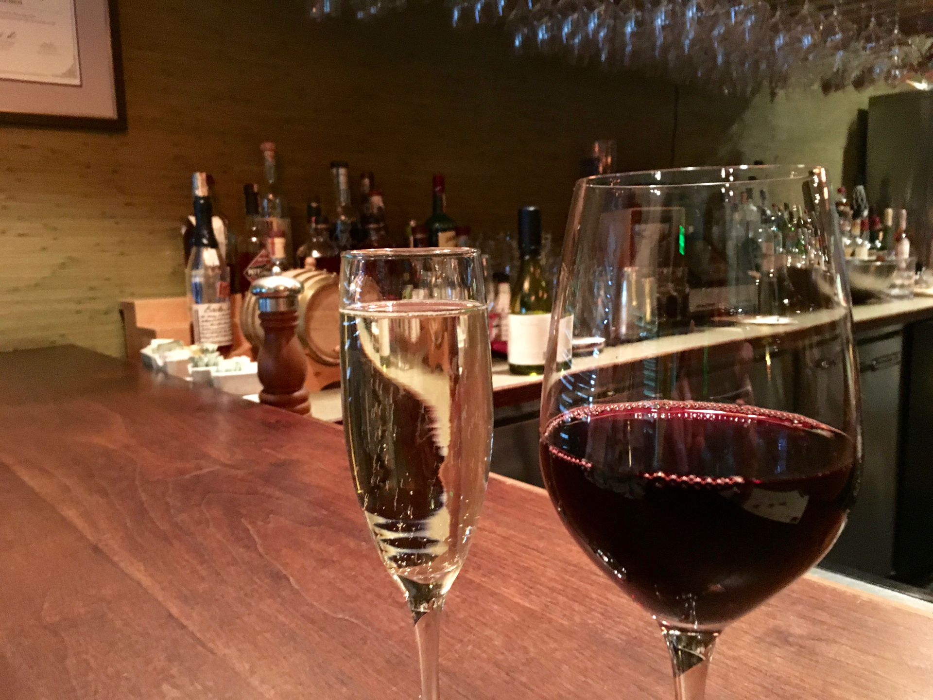 A glass of prosecco and cabernet sauvignon at Cin-Cin Wine Bar & Restaurant.