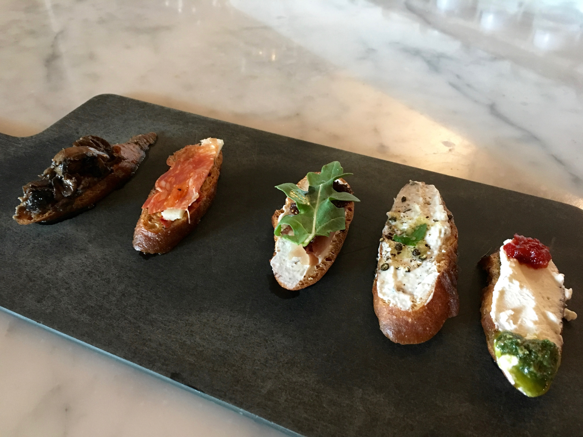 A crostini sampler at Enoteca La Storia.