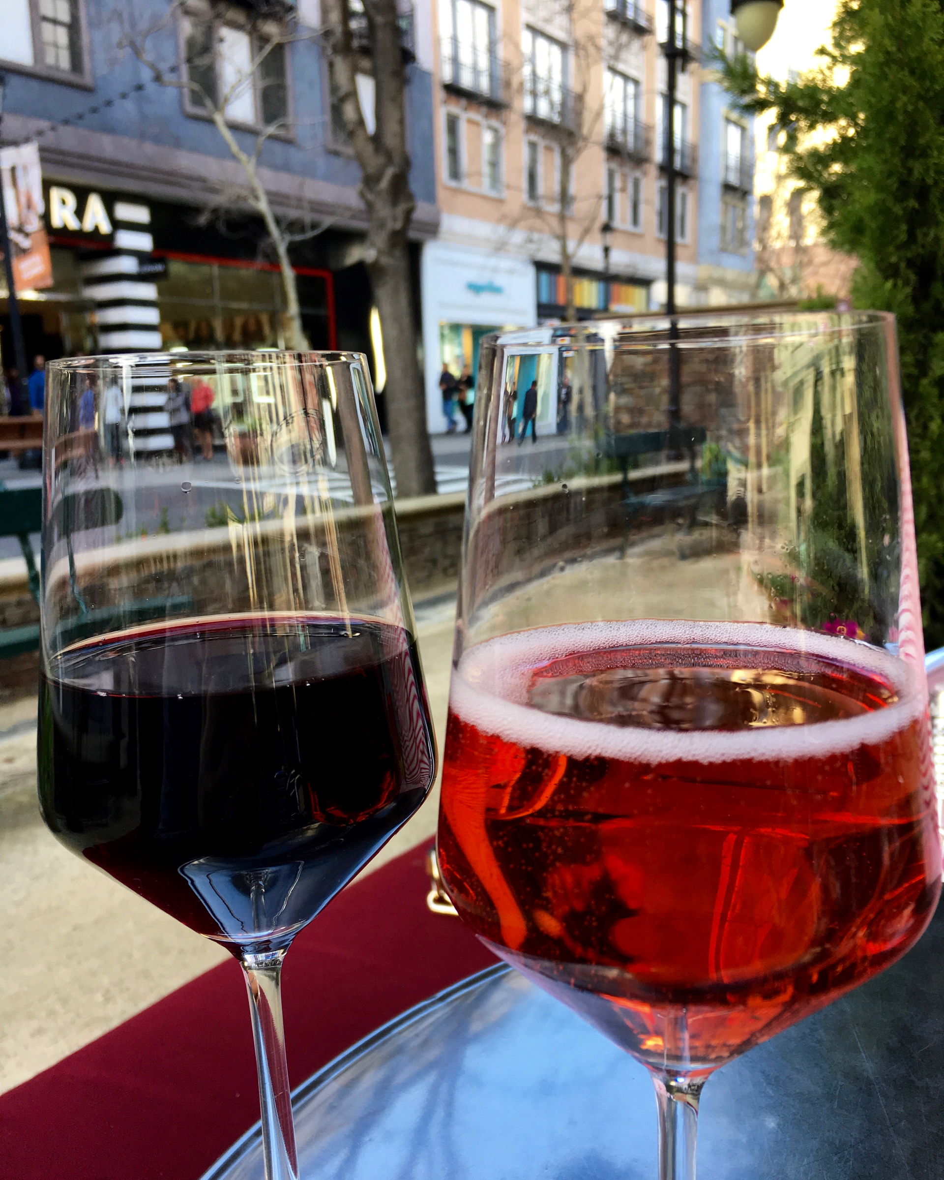 A glass of zinfandel and sparkling rose at Vintage Wine Bar.