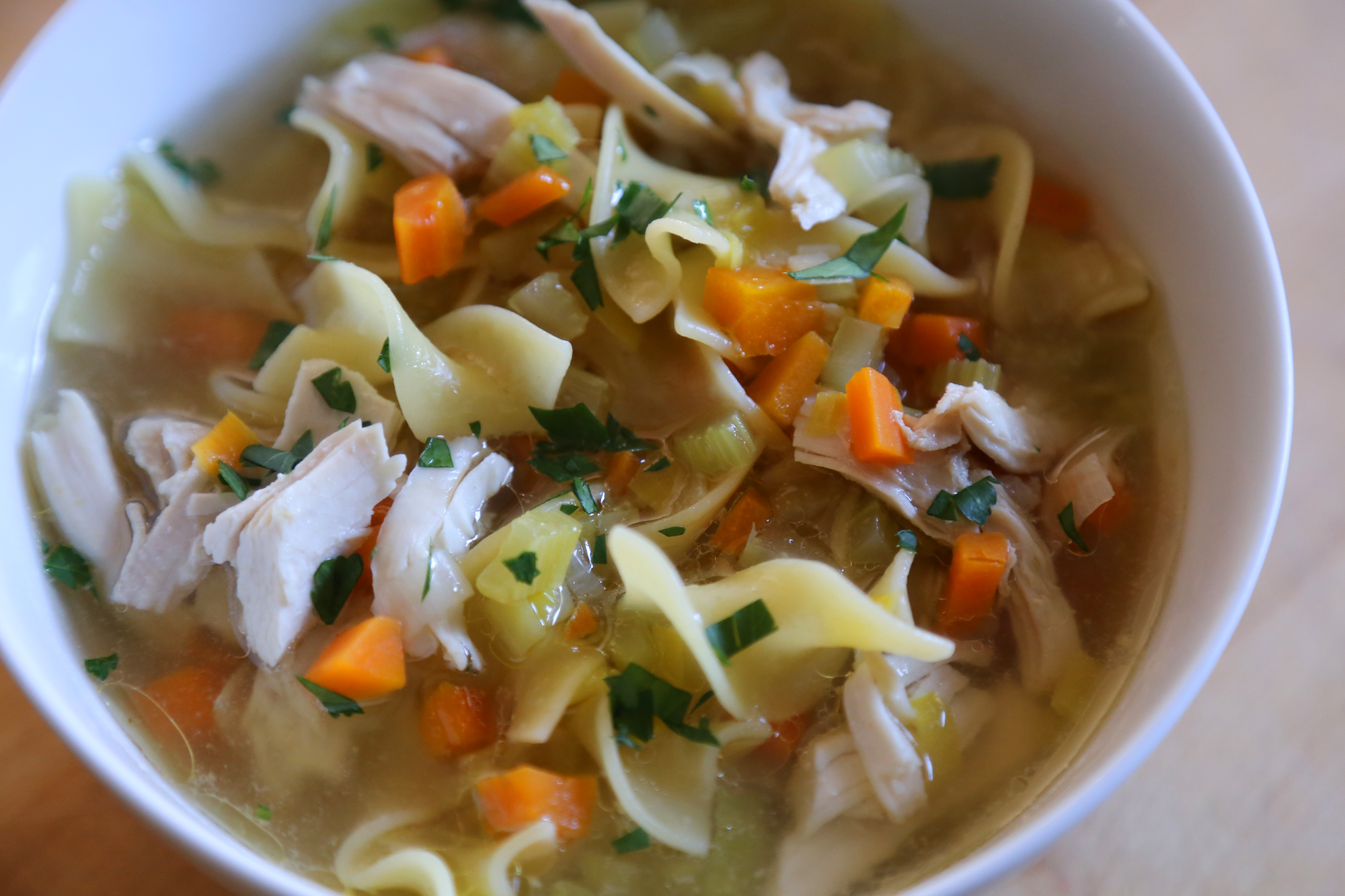 Use the stock to make homemade Chicken Noodle Soup.
