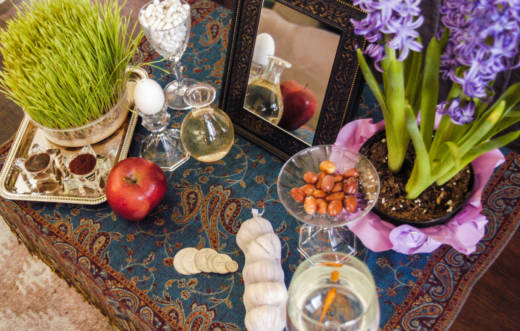 Nowruz, the Persian New Year, is a celebration of the start of spring marked through large parts of the Middle East and Central Asia. Above, a Nowruz haftseen table, laden with seven items meant to symbolize rebirth or renewal.