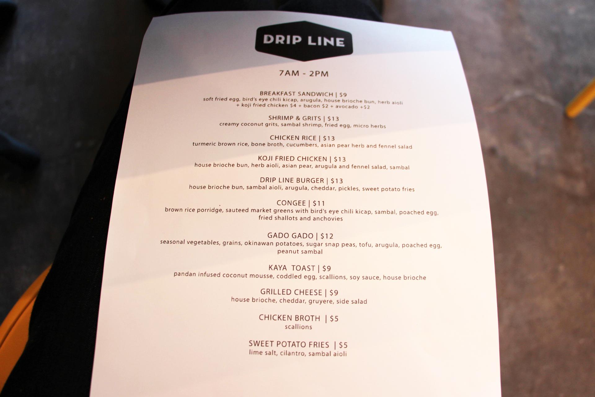 The Drip Line menu.