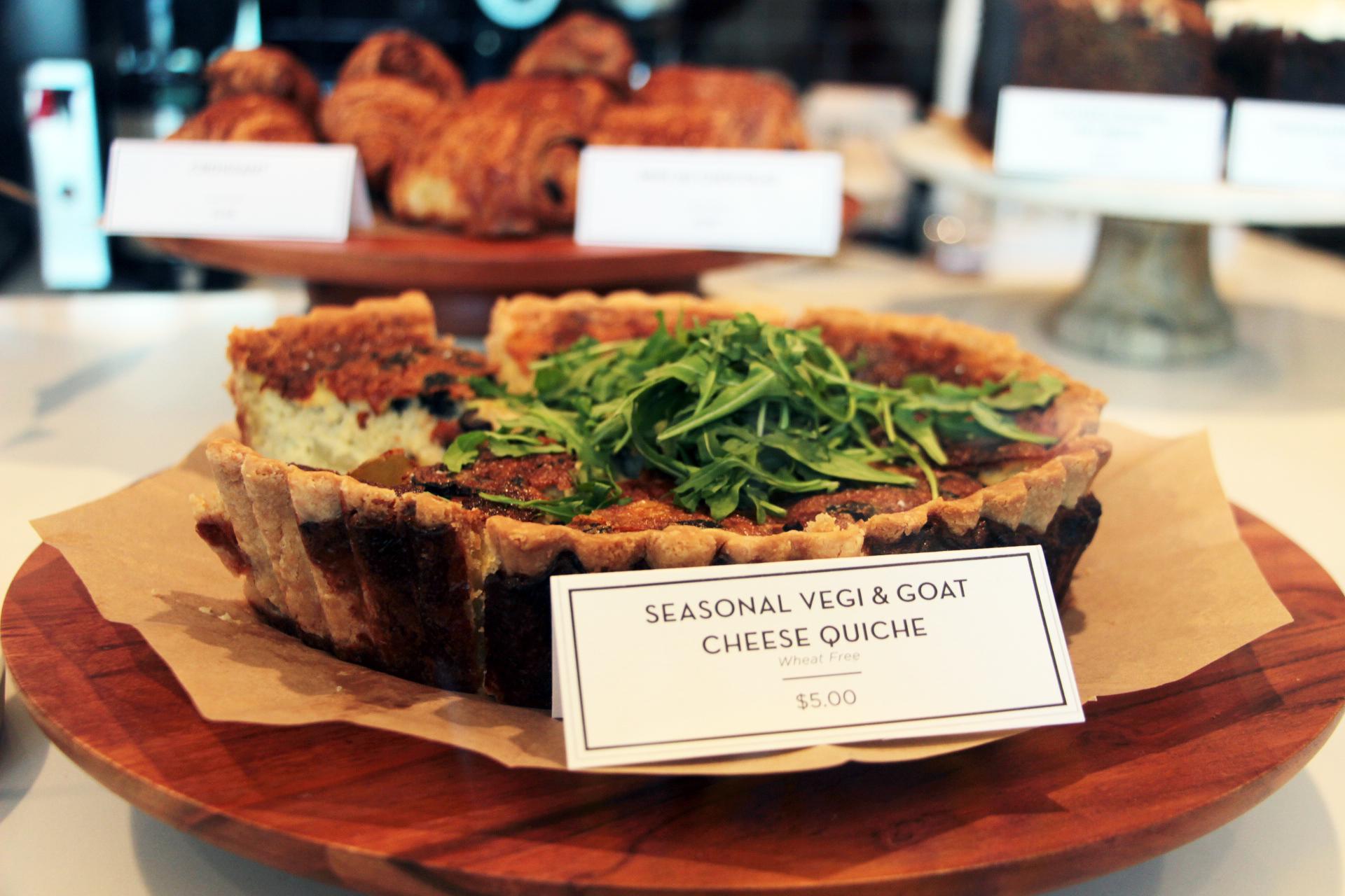 Seasonal Vegi & Goat Cheese Quiche.