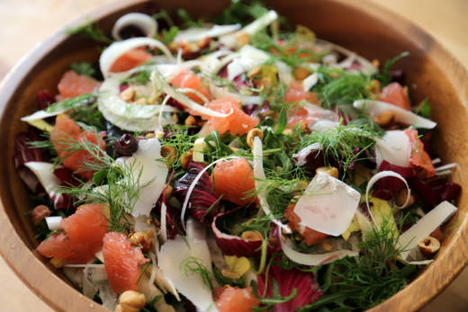 Hearty Salad with Radicchio, Fennel, Grapefruit and Hazelnuts