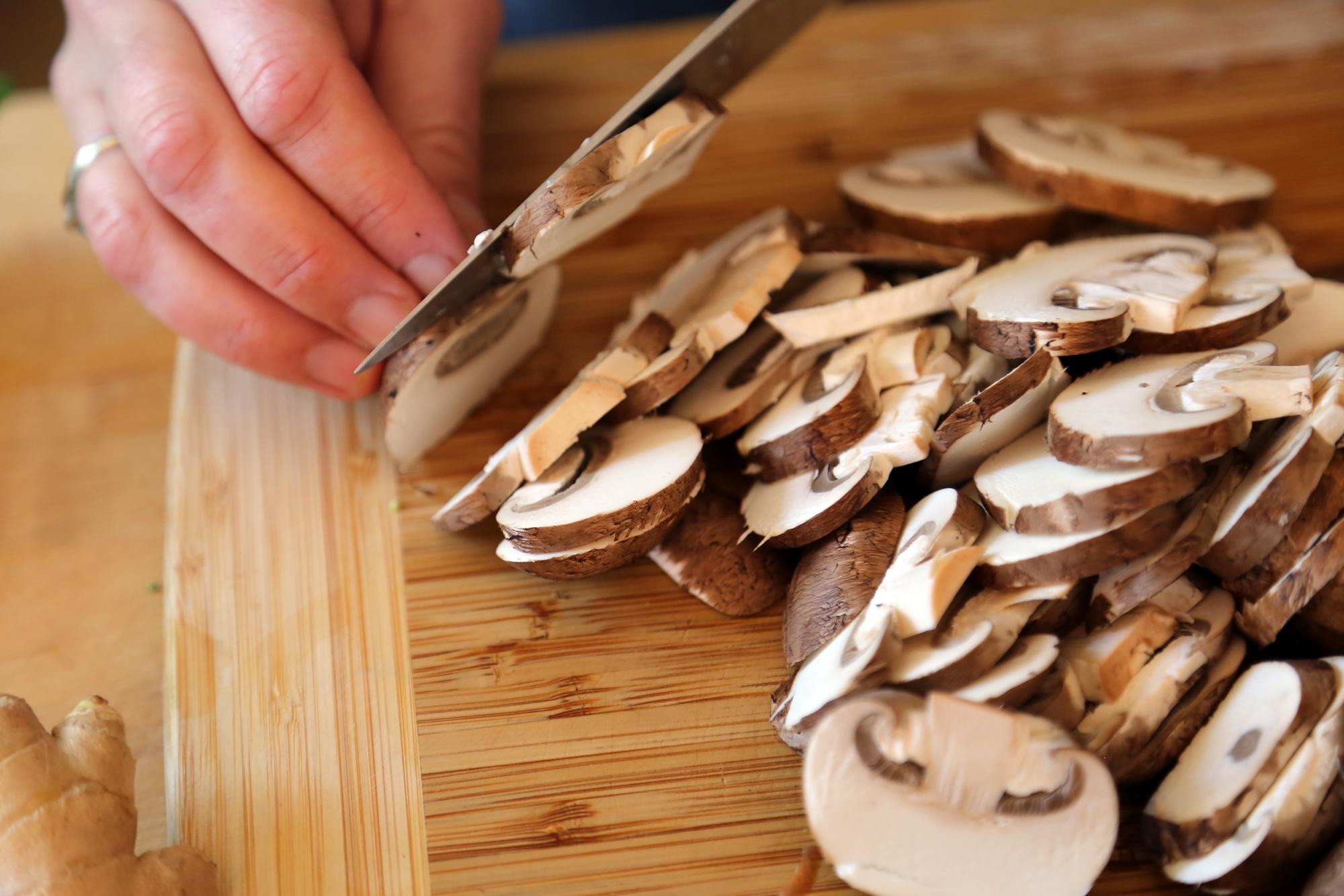 Mushrooms, sliced.
