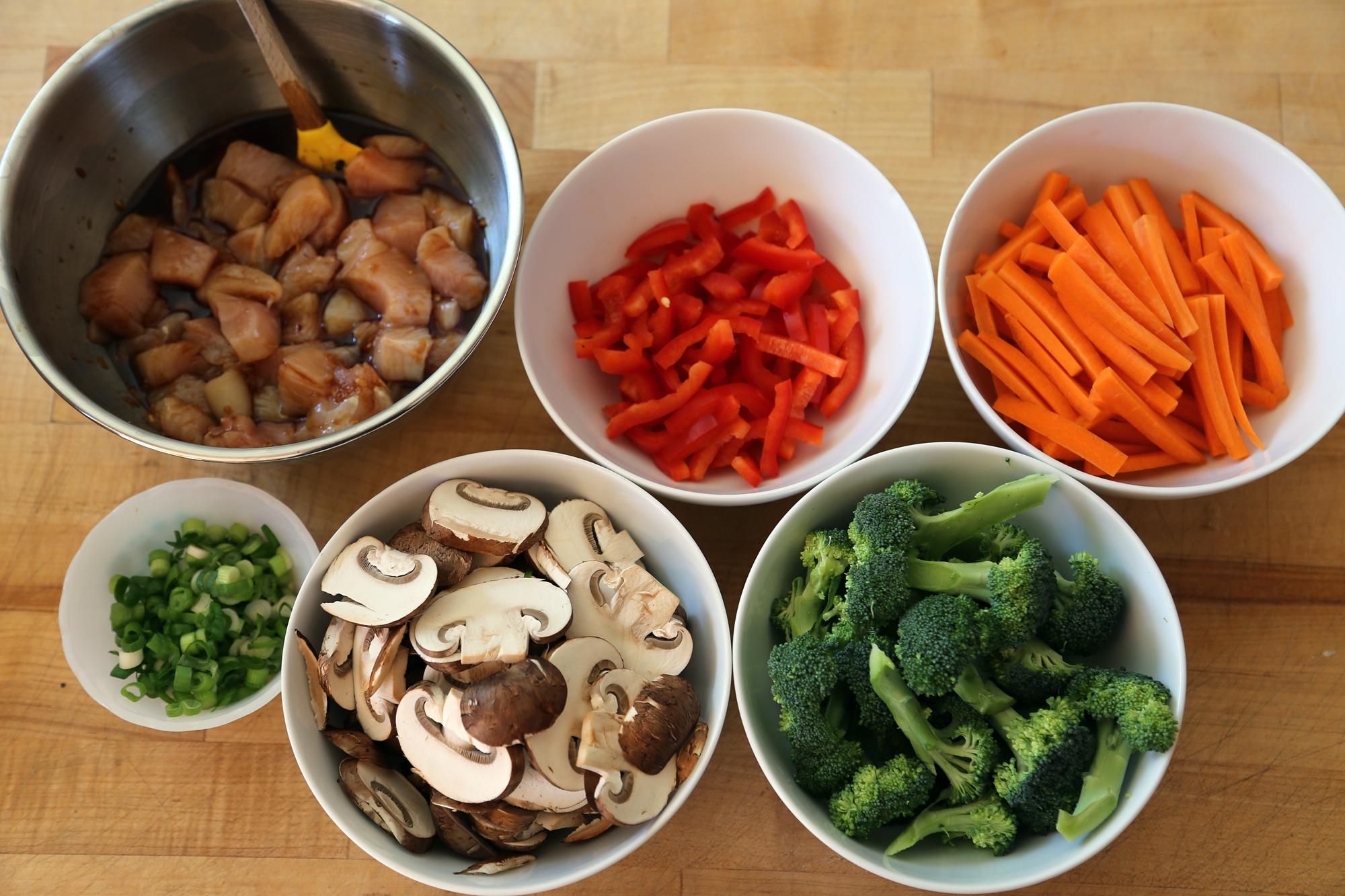 Basic Stir-Fry Ingredients prepped