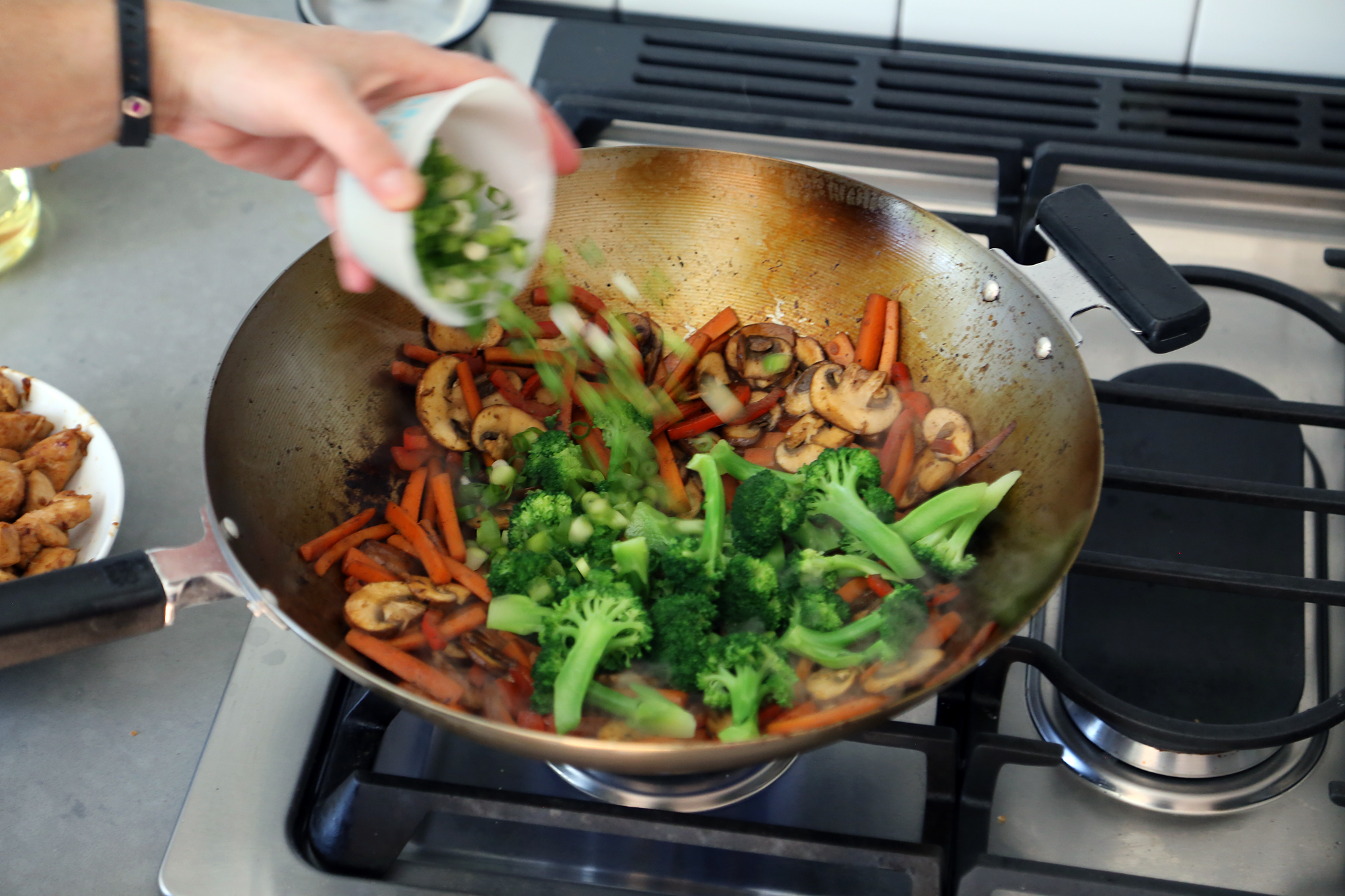 Add the broccoli and green onions and cook until the vegetables are all tender, about 3 minutes.