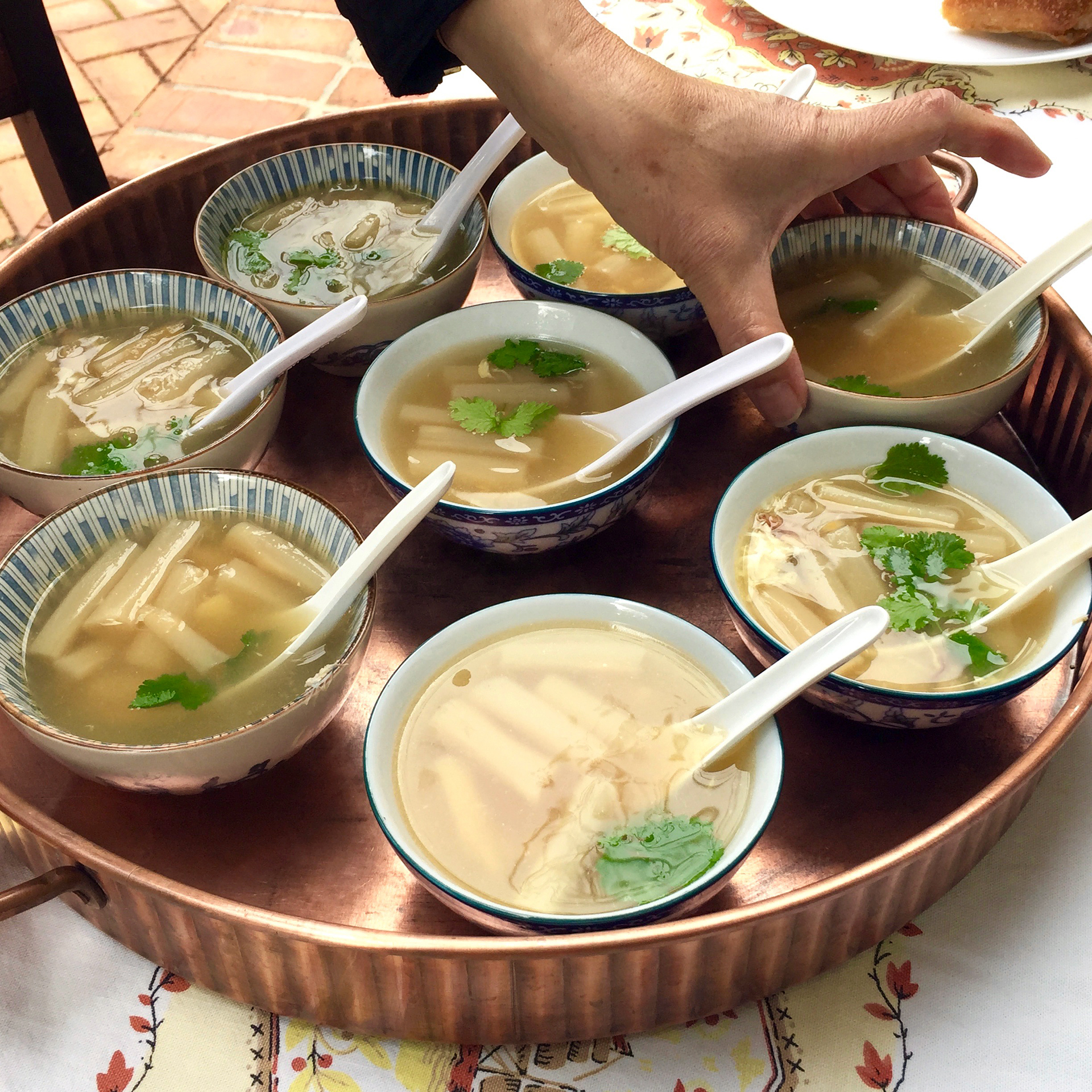Crab and asparagus soup, a traditional dish for Vietnamese weddings.
