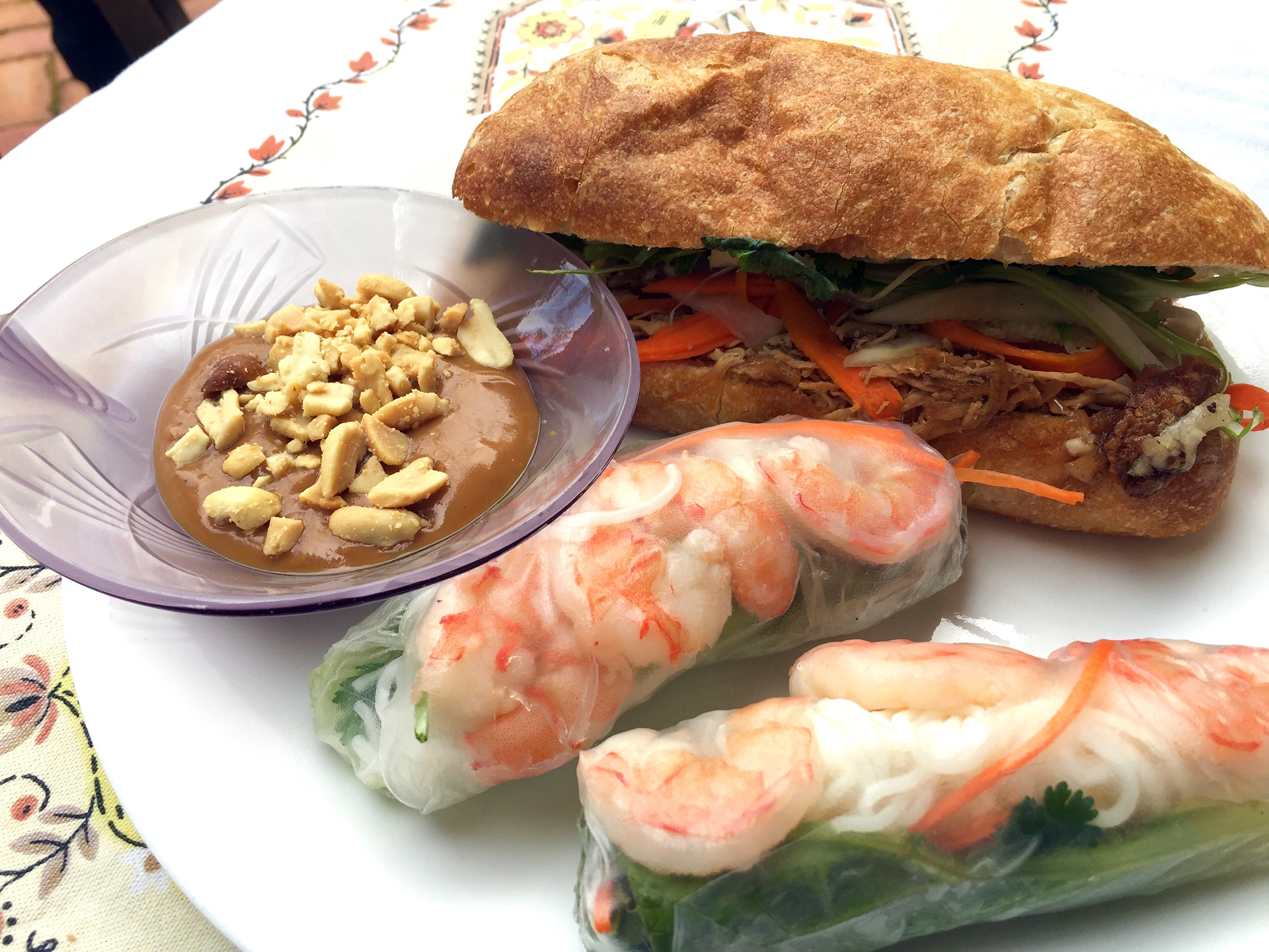 Shrimp rolls and banh mi sandwich made by Thoa van Seventer.