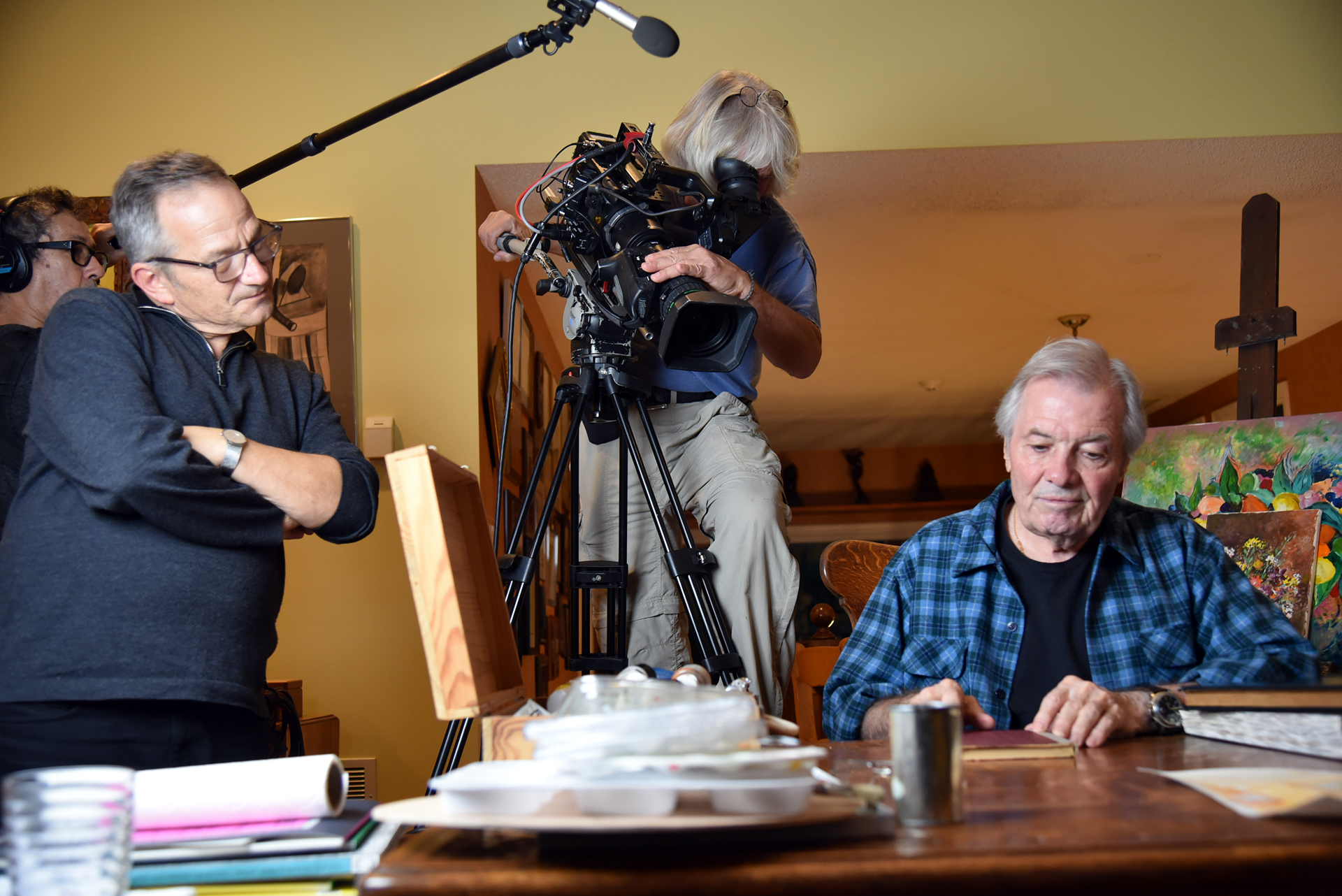 Jacques Pépin (R), director Peter L. Stein (L), director of photography Vicente Franco, and sound engineer Jose Araujo, during the filming of Pépin's American Masters documentary, 2016.