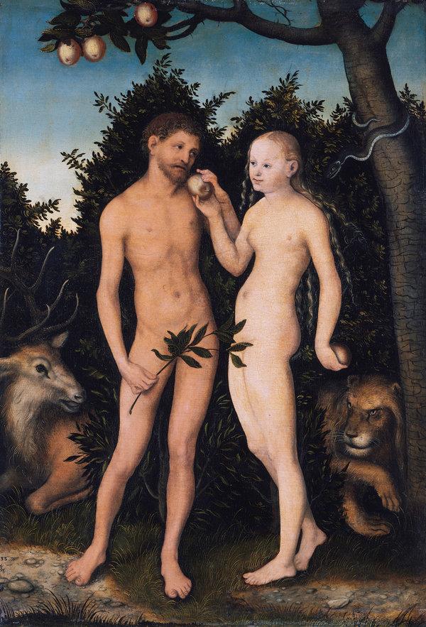 Eve giving Adam the forbidden fruit, by Lucas Cranach the Elder.